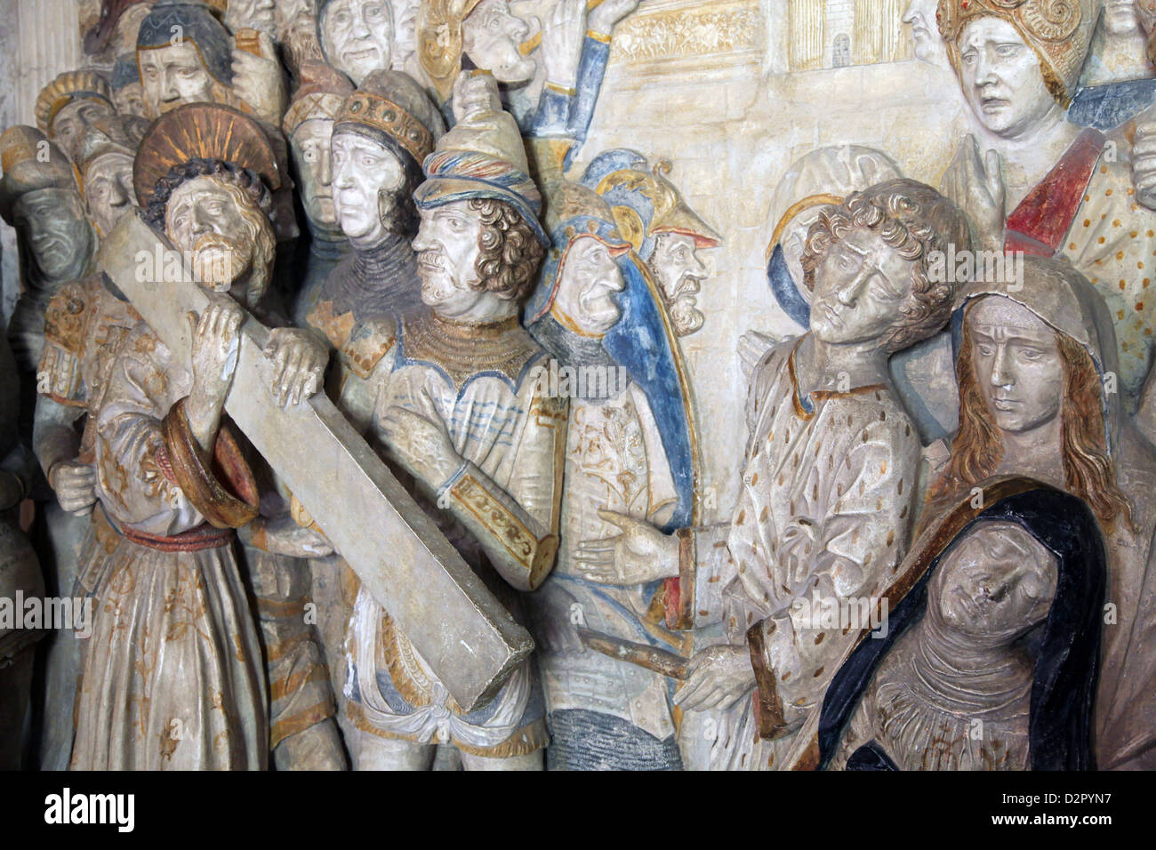 Plaster relief of Christ carrying the cross, Palais des Papes, Avignon, Rhone Valley, Provence, France - Stock Image