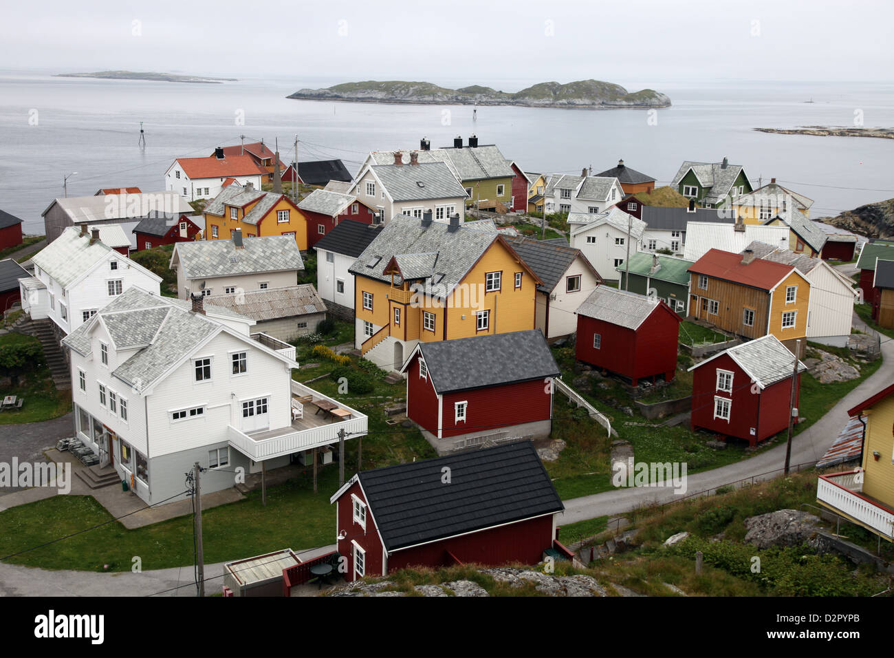 Once a small fishing village on the island of Ona, now summer cabins, Ona, Sandoy, Norway Stock Photo