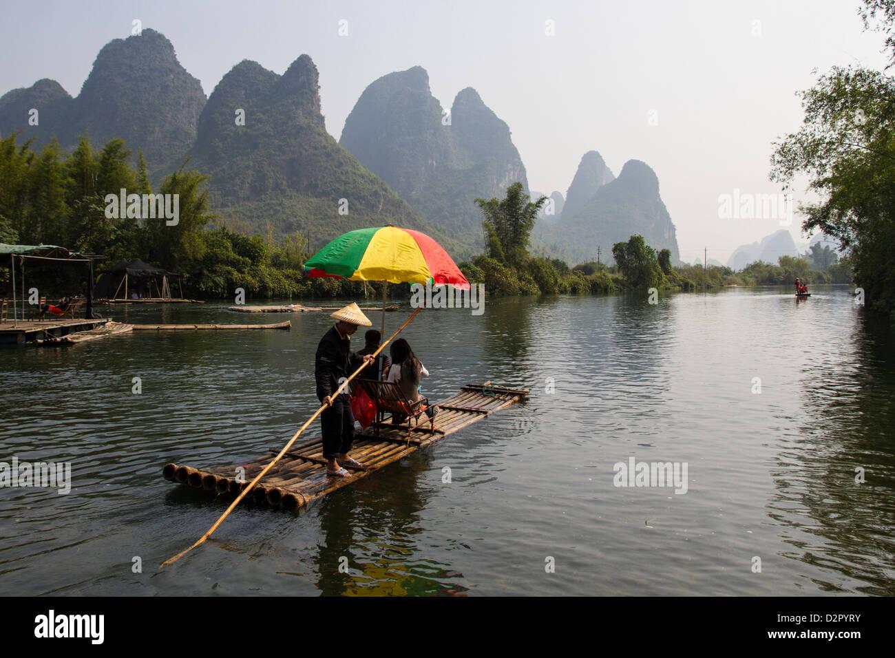 Rafting on the Yulong River, Yangshuo, Guangxi, China, Asia Stock Photo