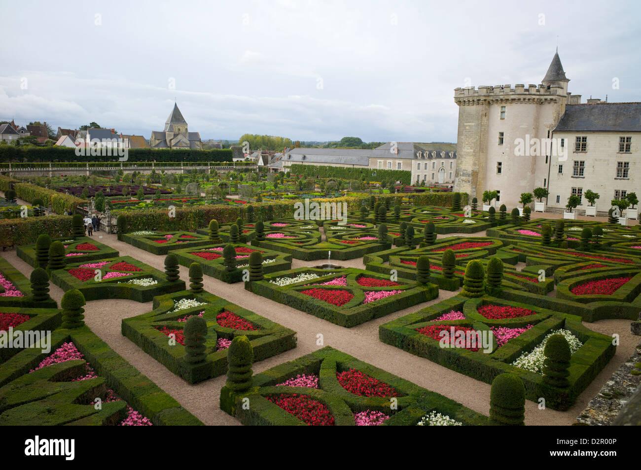 Gardens, Chateau de Villandry, UNESCO World Heritage Site, Indre-et-Loire, Touraine, Loire Valley, France, Europe Stock Photo