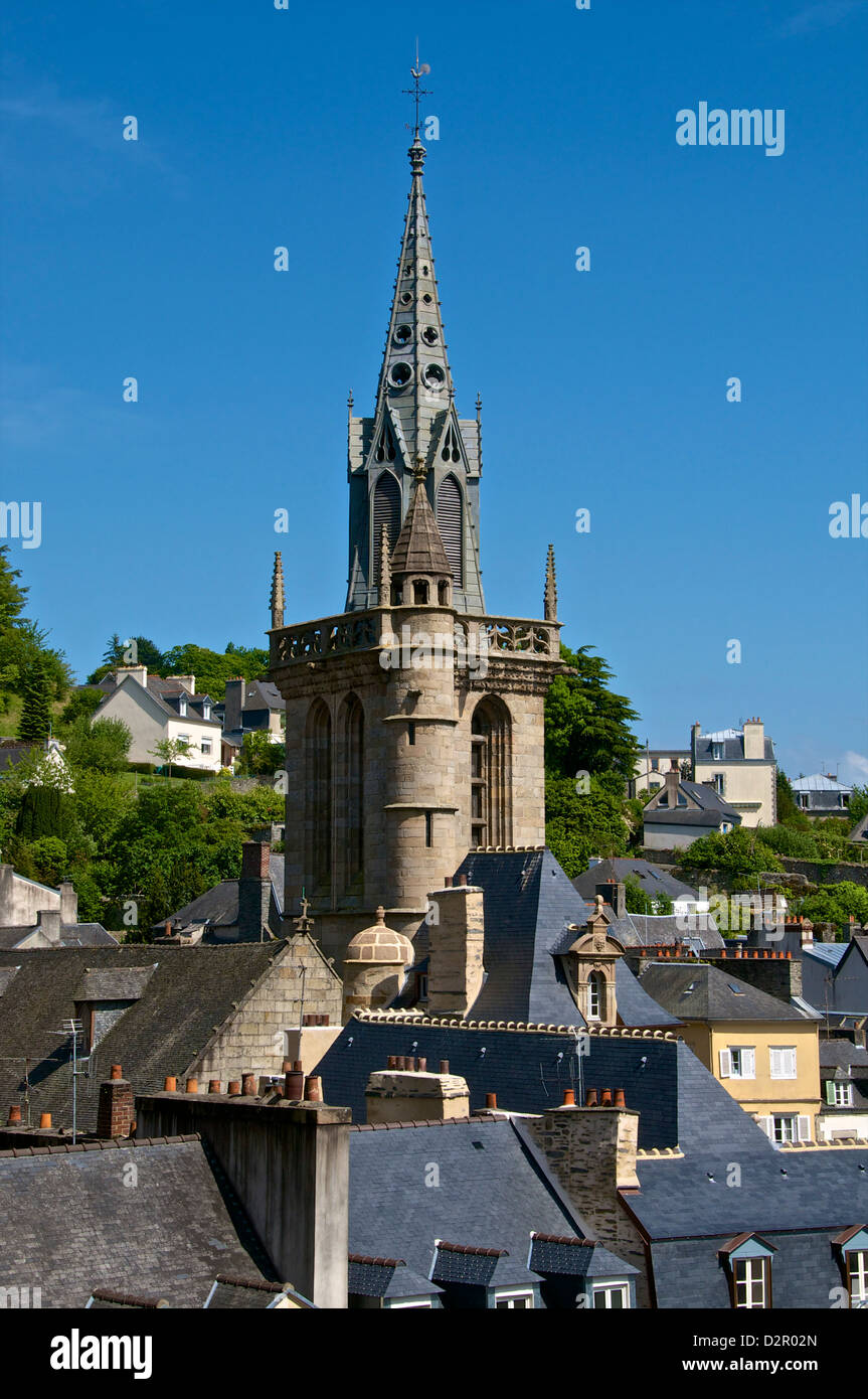 Steeple of St. Melaine church, flamboyant gothic, and surrounding old town roofs, Morlaix, Finistere, Brittany, - Stock Image