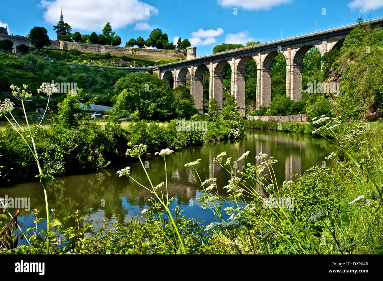 River Rance banks, with viaduct and Castle walls, Dinan, Brittany, France, Europe Stock Photo