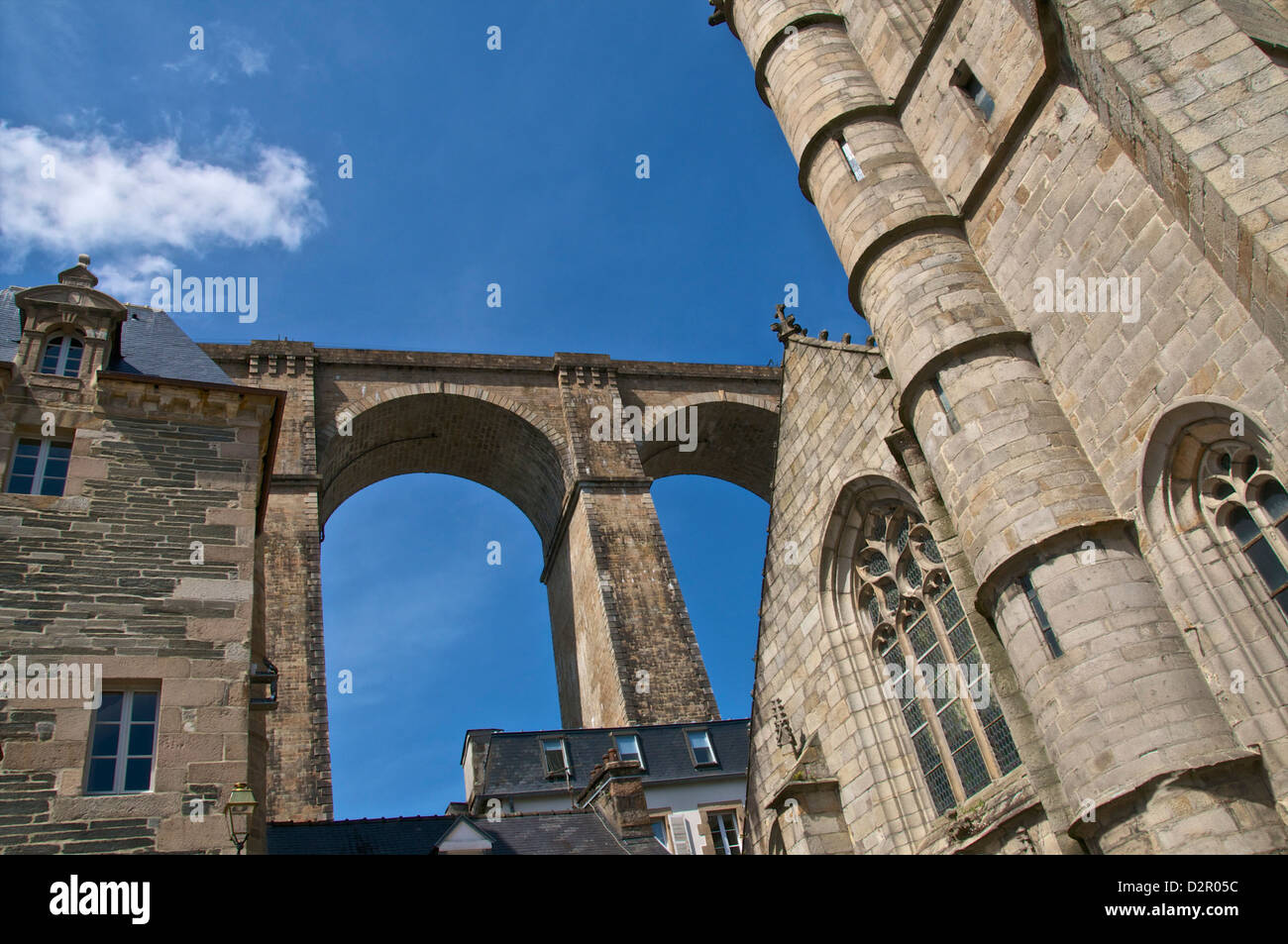 St. Melaine church dating from the 15th century, flamboyant gothic, and Viaduct, Morlaix, Finistere, Brittany, France, - Stock Image