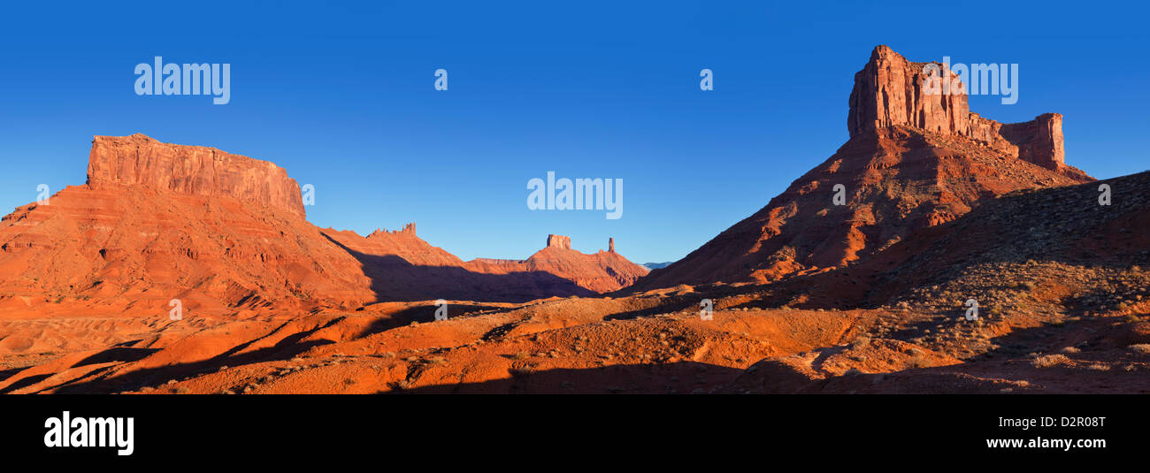 Red Sandstone Rock, Castle Valley at sunset, near Moab, Utah, United States of America, North America - Stock Image