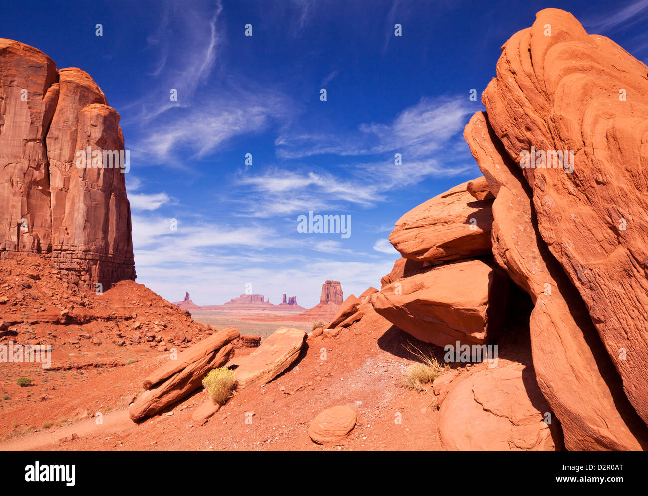 View from North Window, Monument Valley Navajo Tribal Park, Arizona, United States of America, North America - Stock Image