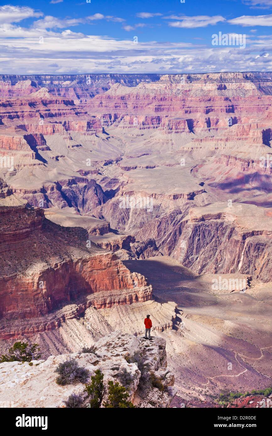 Lone hiker near Yavapai Point Overlook, South Rim, Grand Canyon National Park, Arizona, USA Stock Photo