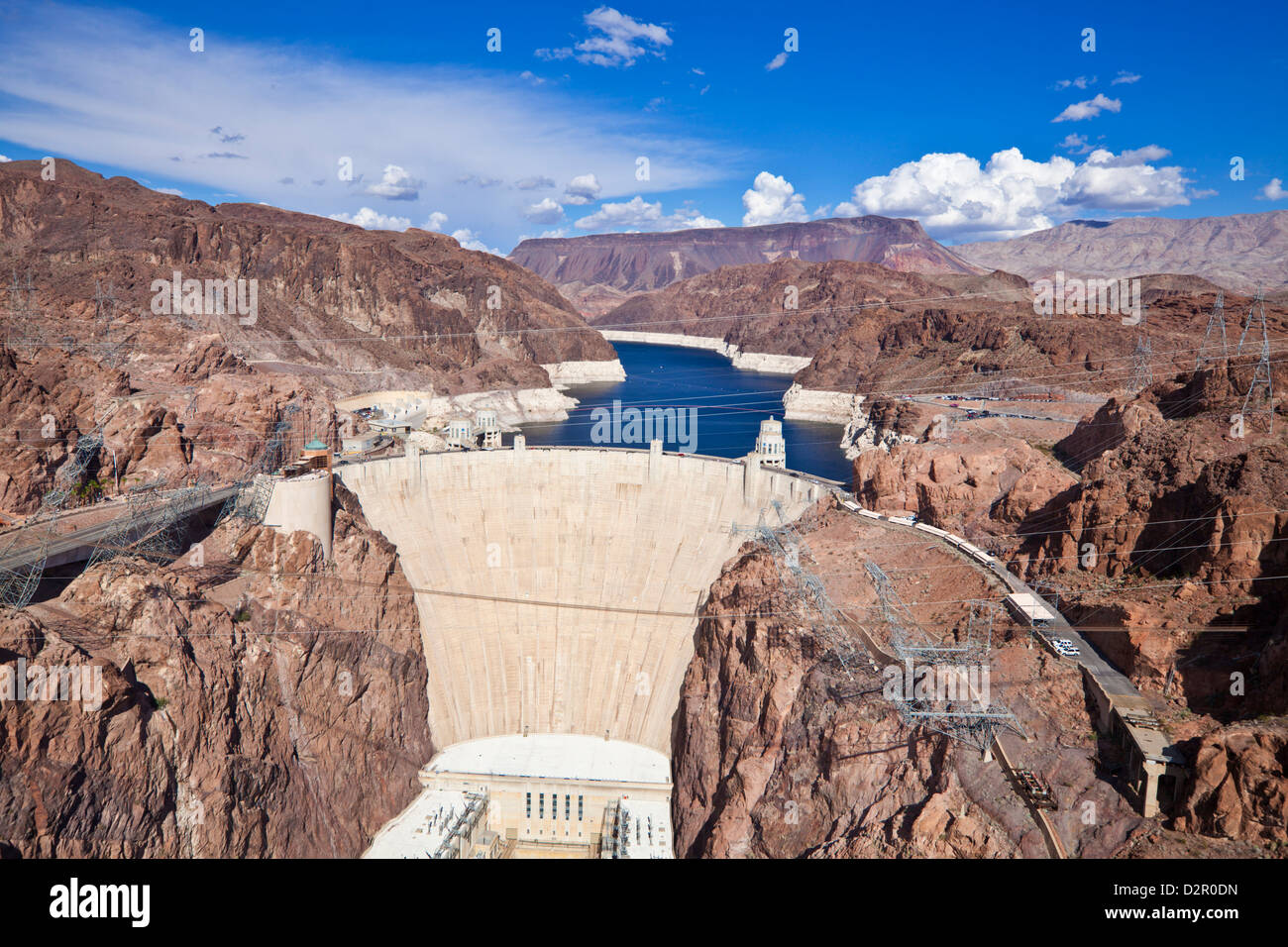 Hoover Dam, Lake Mead Reservoir, Boulder City, Nevada, United States of America, North America - Stock Image