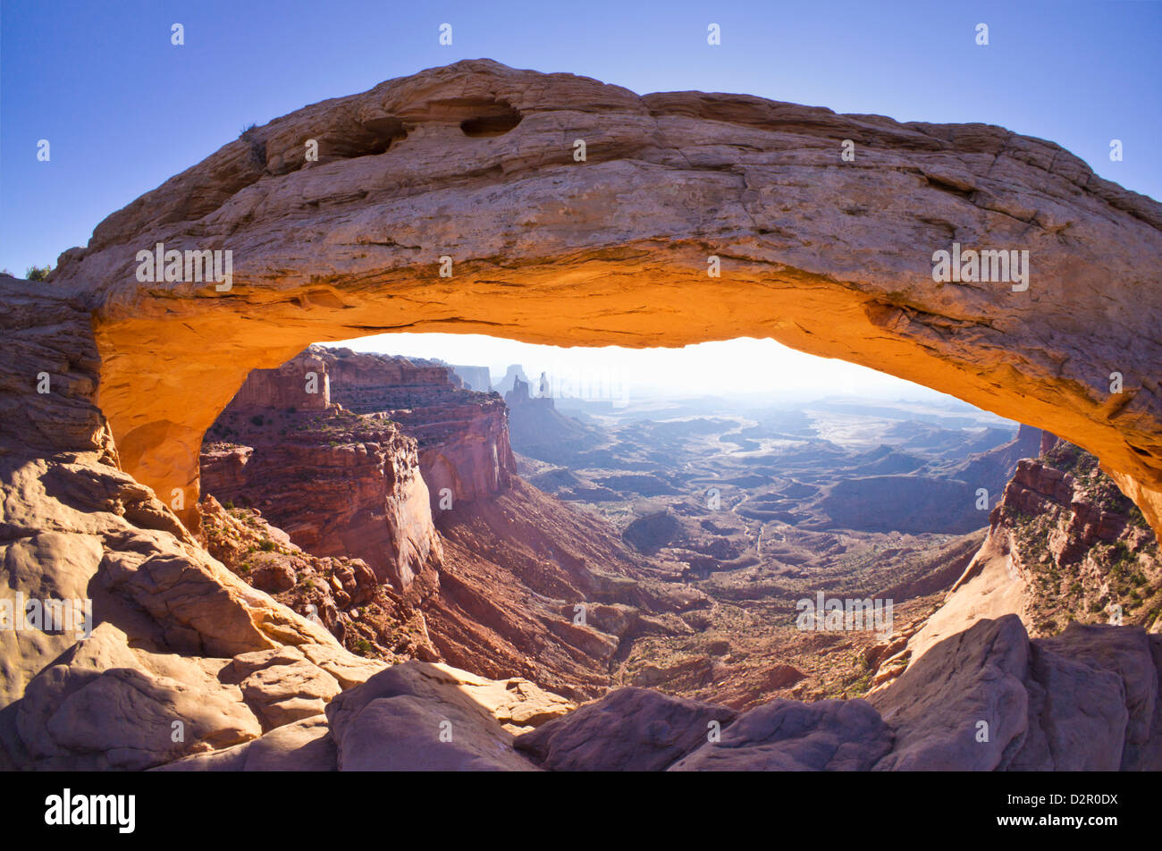 Mesa Arch sunrise, Island in the Sky, Canyonlands National Park, Utah, United States of America, North America - Stock Image