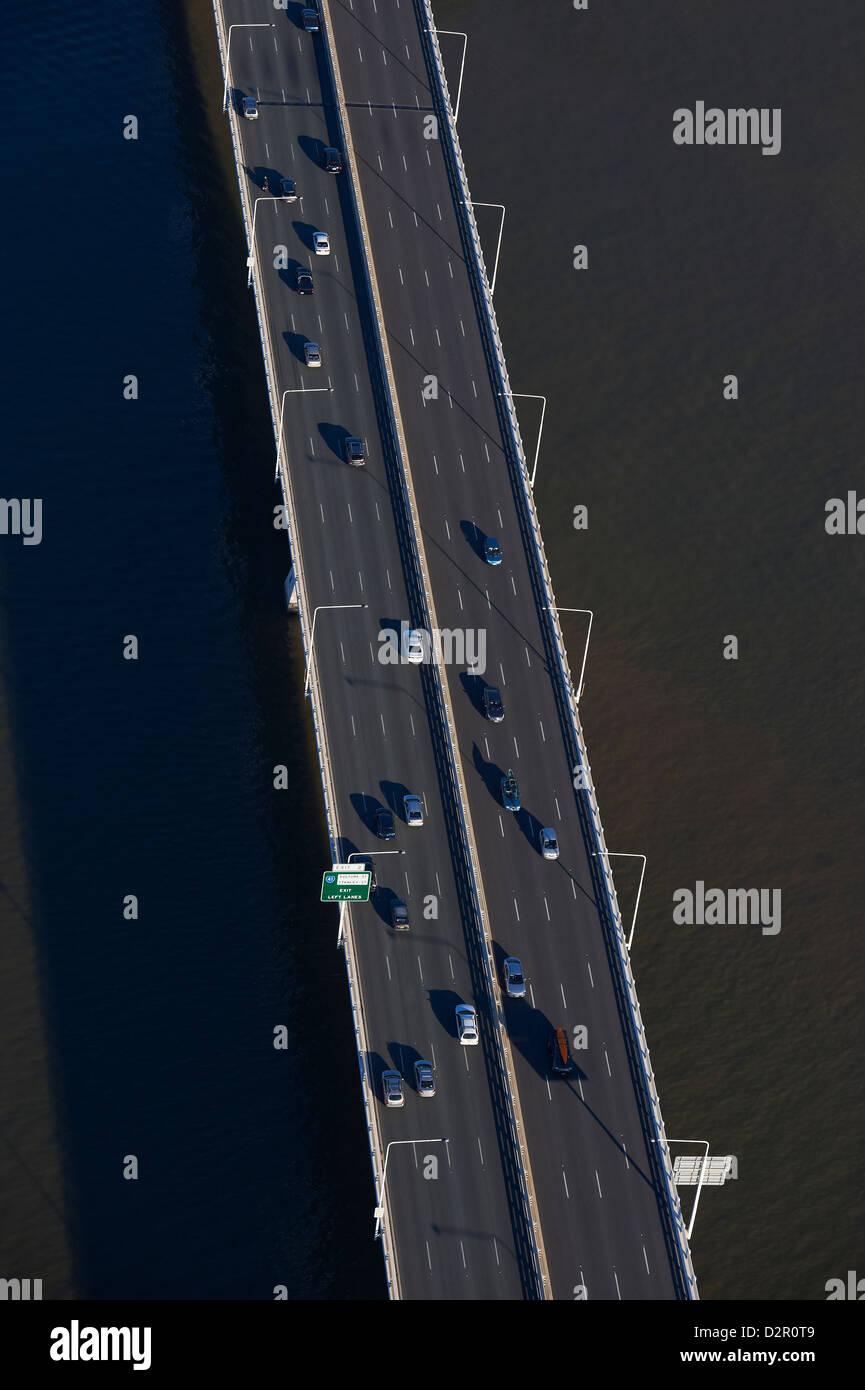 Aerial view of the Captain Cook Bridge, Brisbane QLD Australia - Stock Image