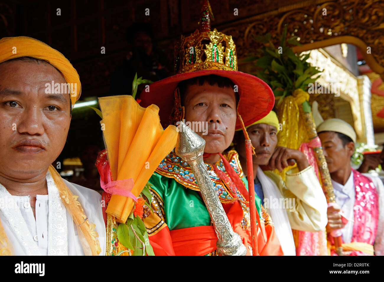 The queens and the ministers at the biggest Nat ritual (Festival of Spirits) in Taungbyon, Mandalay Division, Myanmar - Stock Image