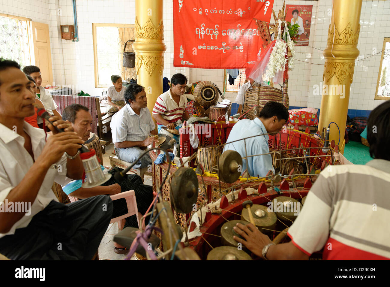 The hsaing waing, a traditional Burmese folk musical ensemble, Pyin U Lwin (Maymyo), Mandalay Division, Myanmar - Stock Image
