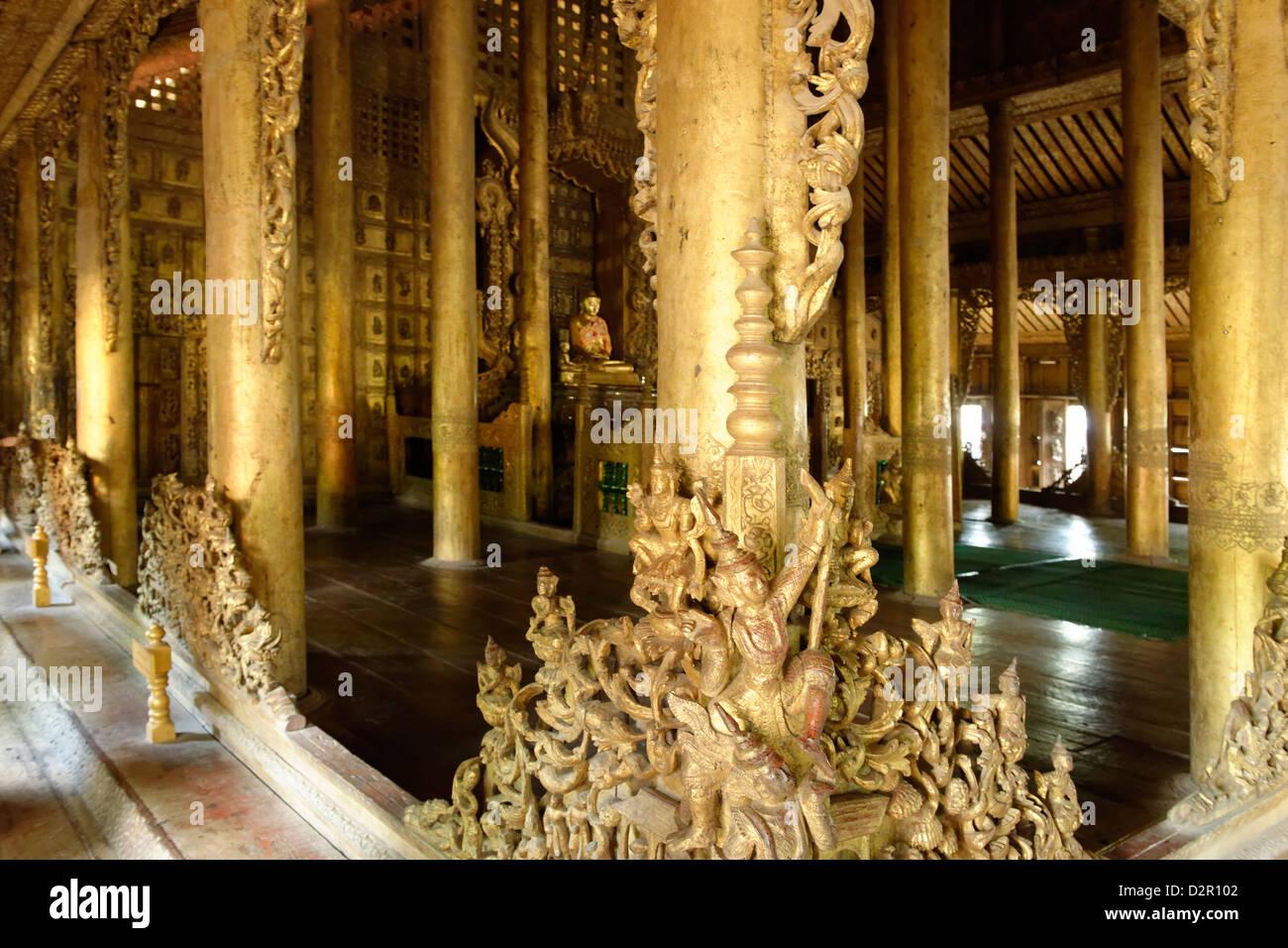 Shwenandaw Monastery, located near Mandalay Hill, Mandalay, Mandalay Division, Myanmar - Stock Image