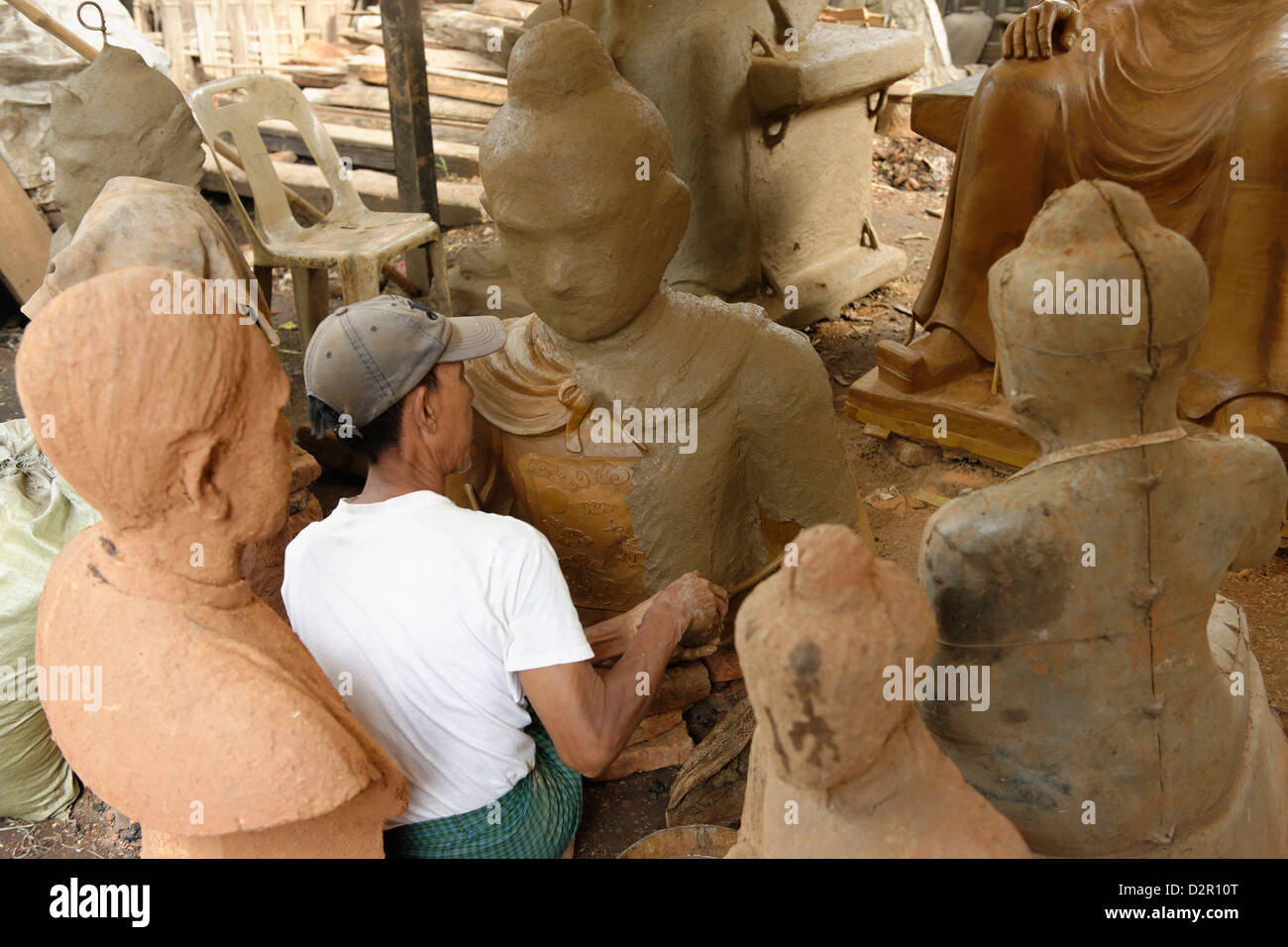 Lost-wax casting open air workshop, Amarapura, Mandalay Division, Republic of the Union of Myanmar (Burma), Asia - Stock Image