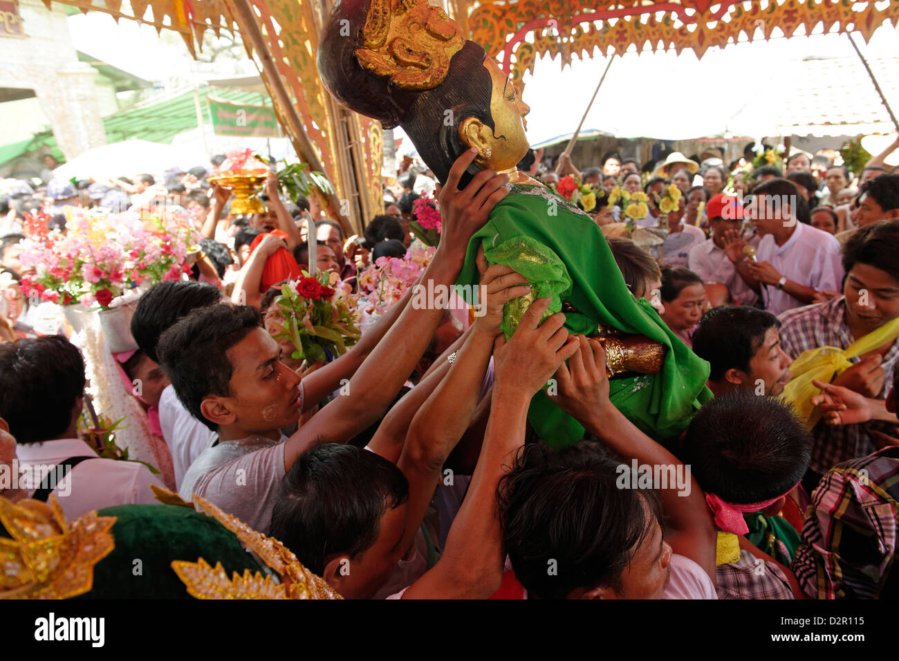 Ceremony of Washing the Nats' Statues, Yadanagu Nats Festival, Amarapura, Mandalay Division, Myanmar - Stock Image