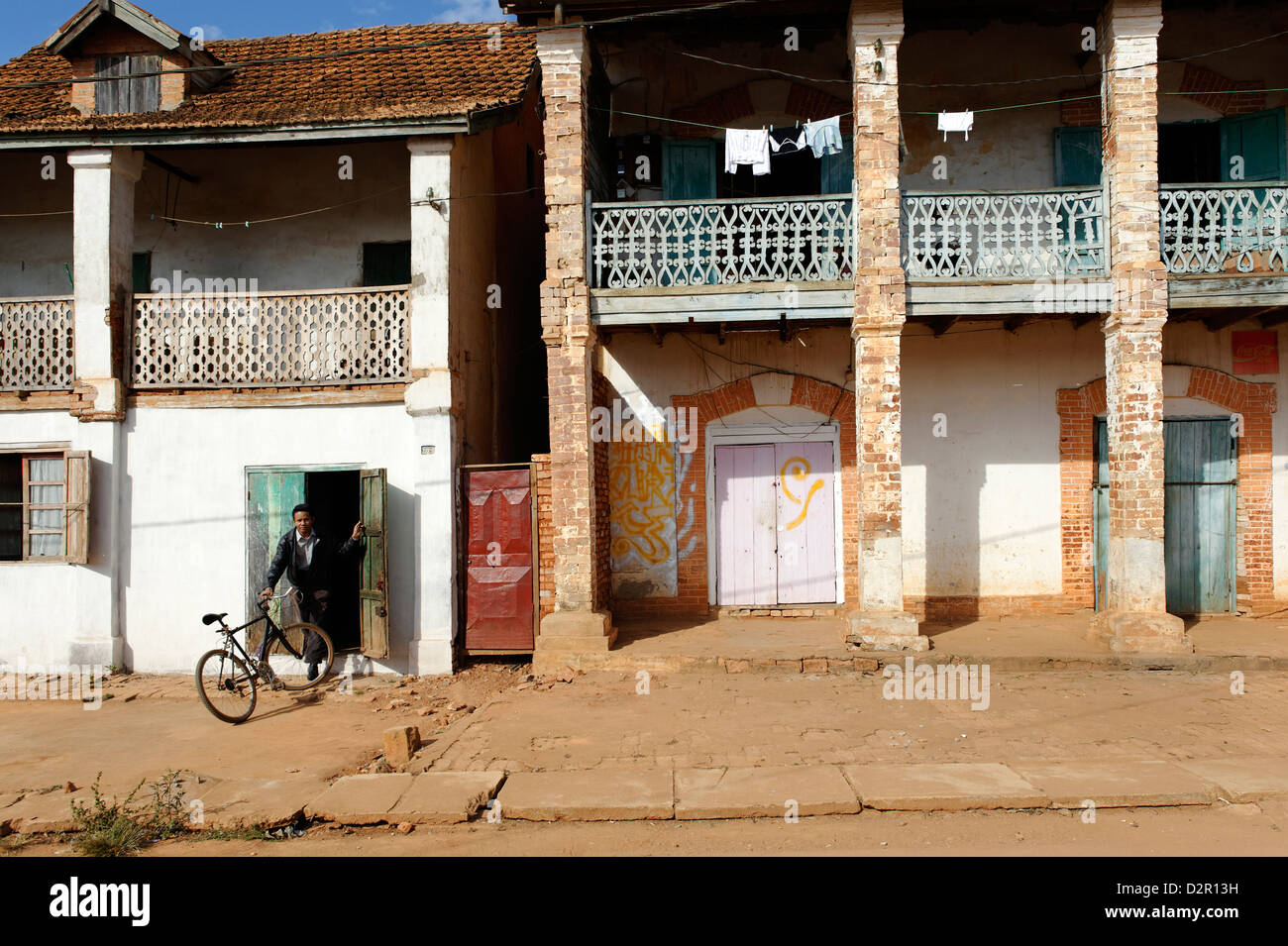 The main street, Ambalavao, southern part of the Central Highlands, Madagascar, Africa - Stock Image