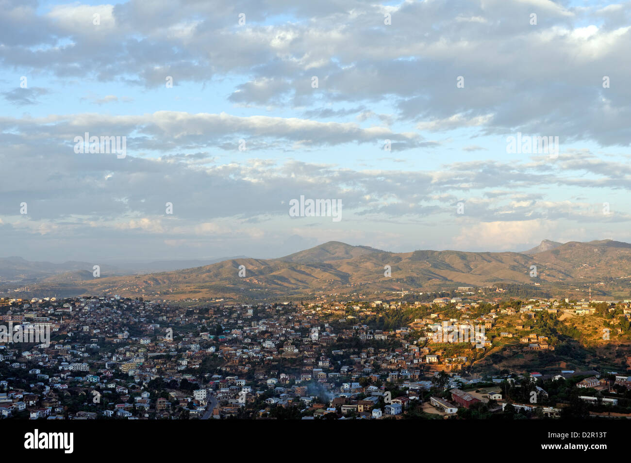 Overview from the upper town, Fianarantsoa, Madagascar, Africa - Stock Image