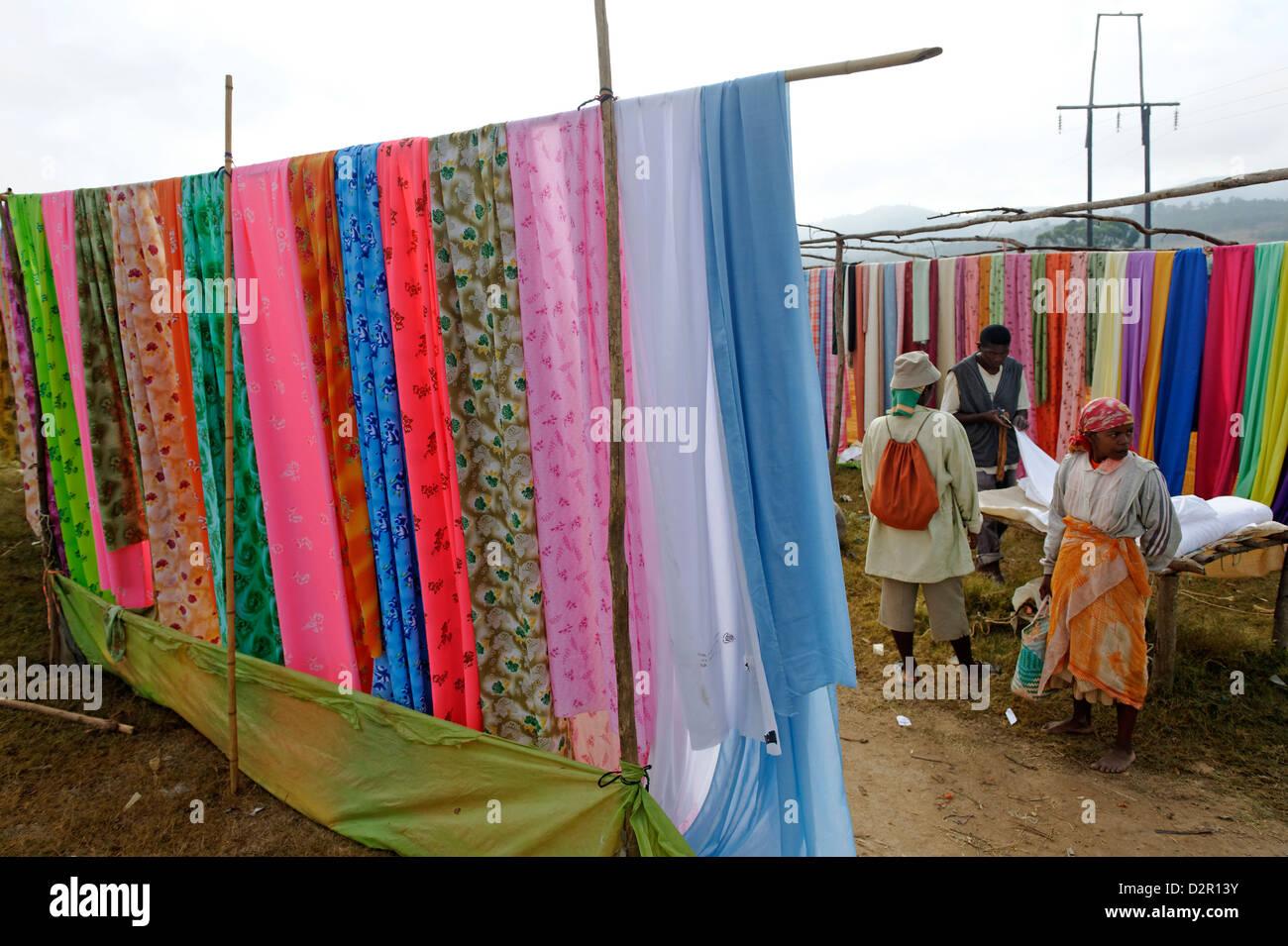 Friday market in the Betsileo country, around Fianarantsoa, Madagascar, Africa - Stock Image