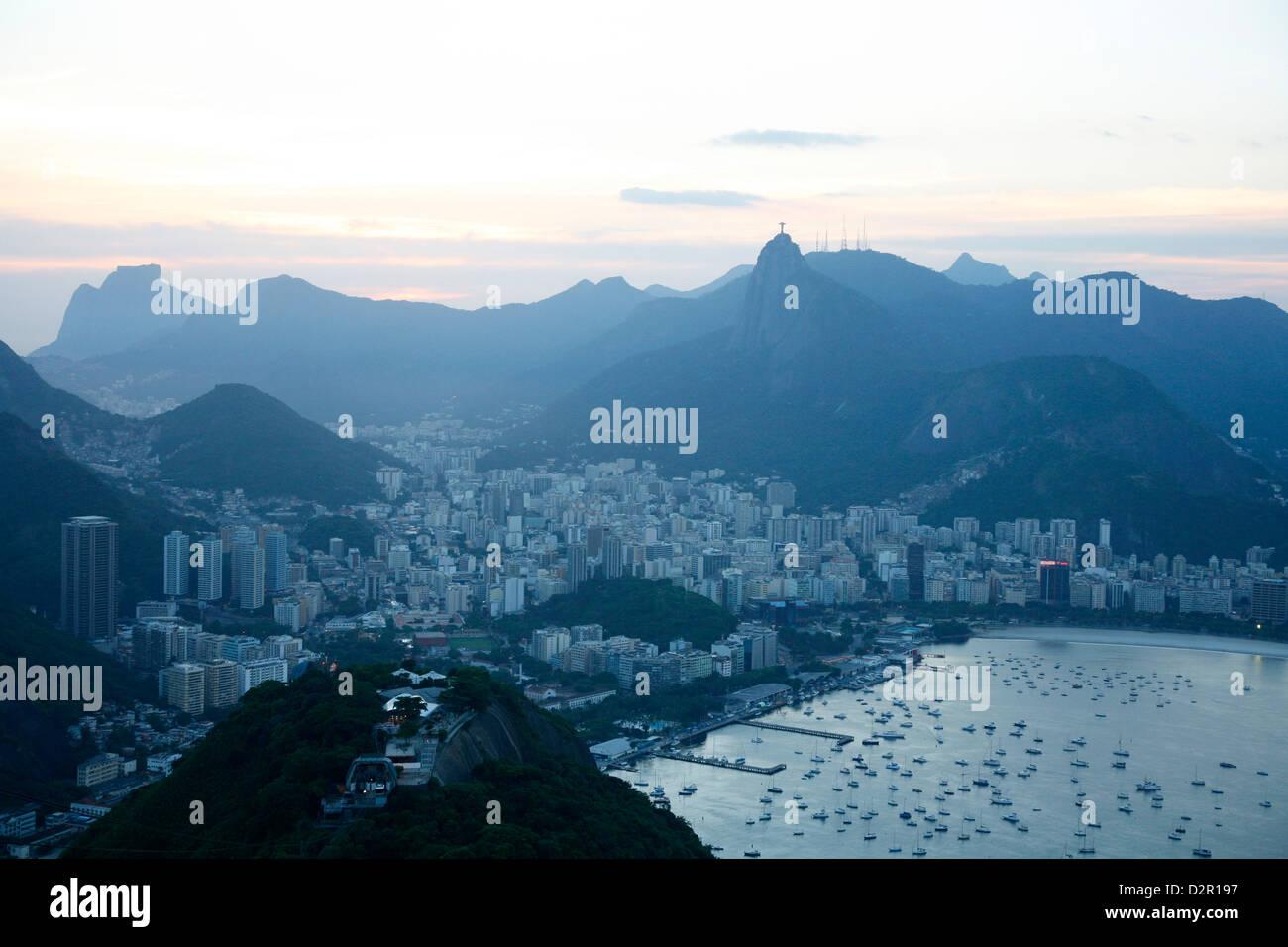 View over Rio de Janeiro seen from the top of the Sugar Loaf Mountain, Rio de Janeiro, Brazil, South America - Stock Image