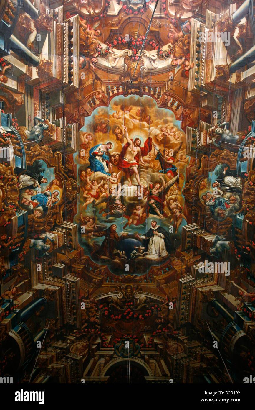 Ceiling of Igreja Sao Domingos on Terreiro de Jesus Square, Salvador (Salvador de Bahia), Bahia, Brazil, South America Stock Photo