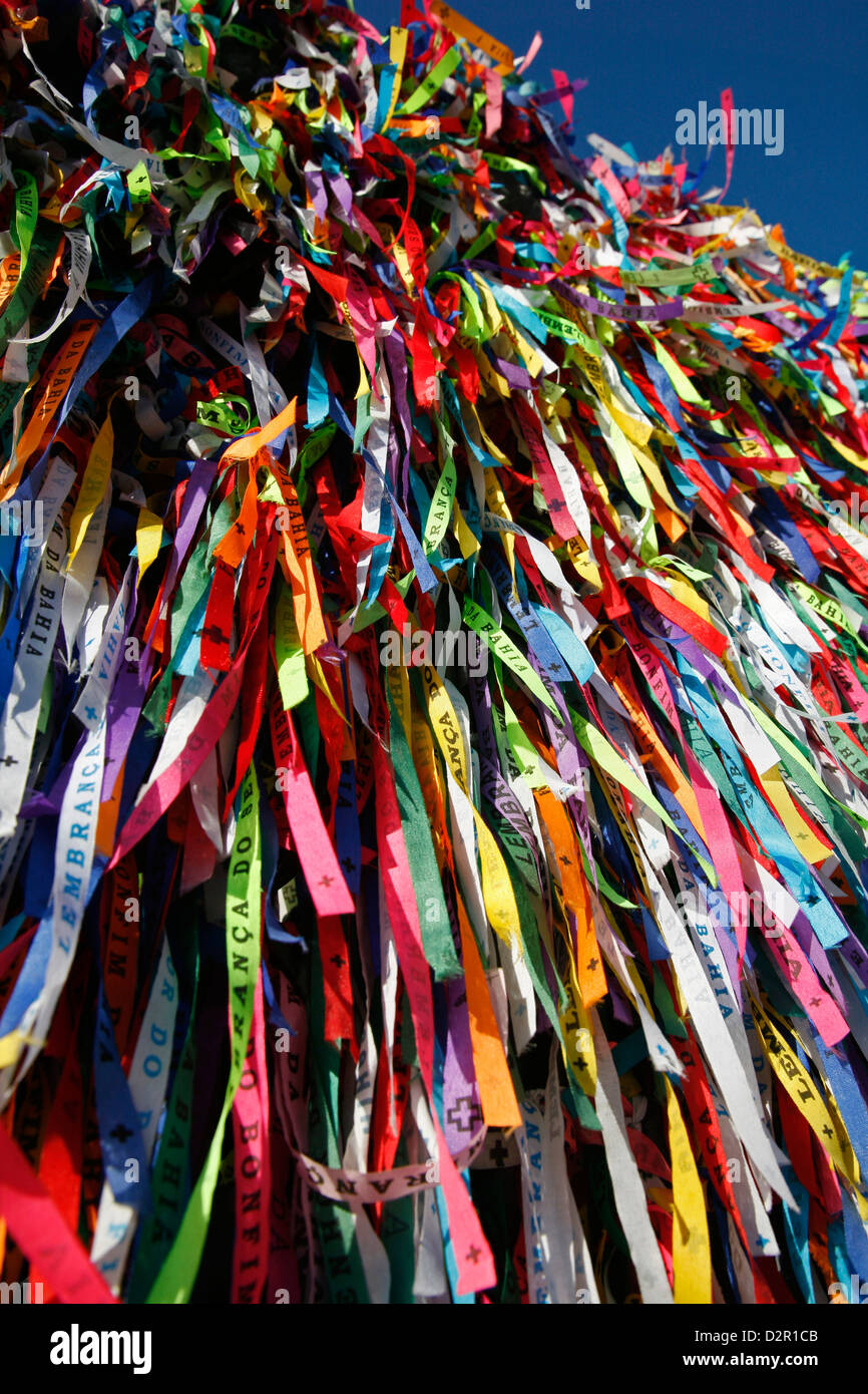 Lucky ribbons tied around at Igreja Nosso Senhor do Bonfim church, Salvador (Salvador de Bahia), Bahia, Brazil, - Stock Image