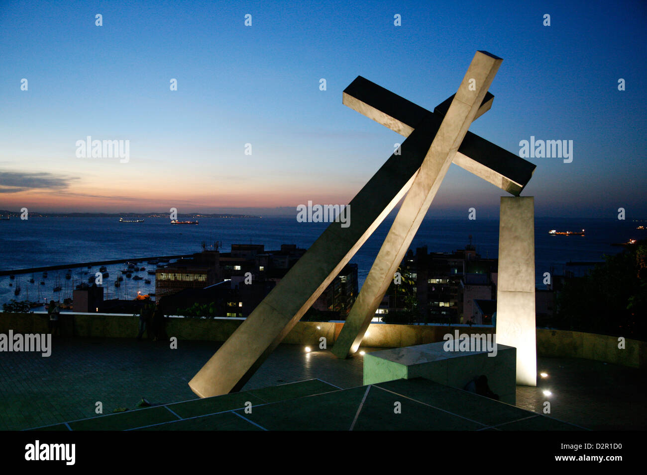 Largo da Cruz Quebrada (Fallen Cross), Pelourinho, Salvador (Salvador de Bahia), Bahia, Brazil, South America - Stock Image