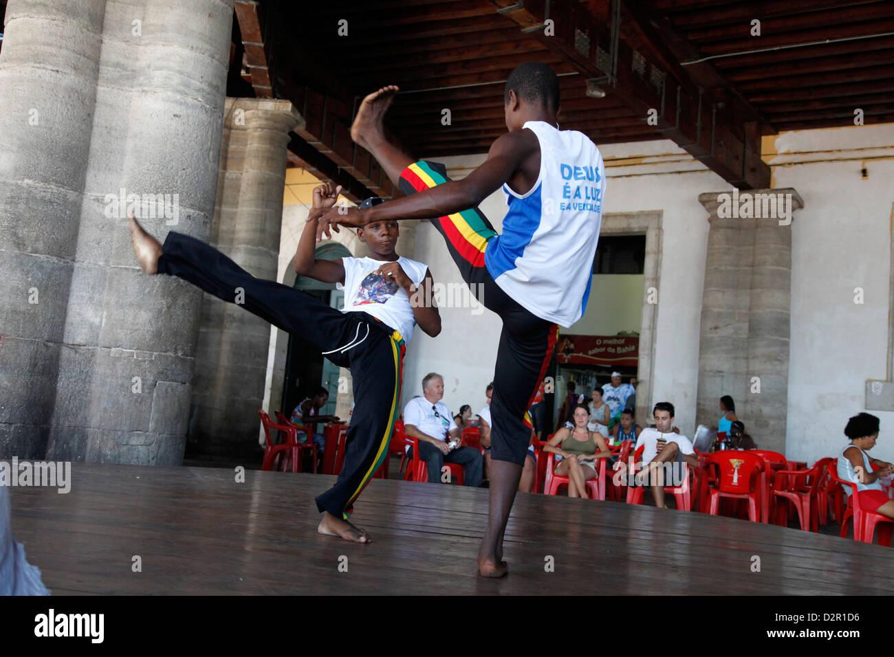 Capoeira performance at Mercado Modelo, Salvador (Salvador de Bahia), Bahia, Brazil, South America - Stock Image