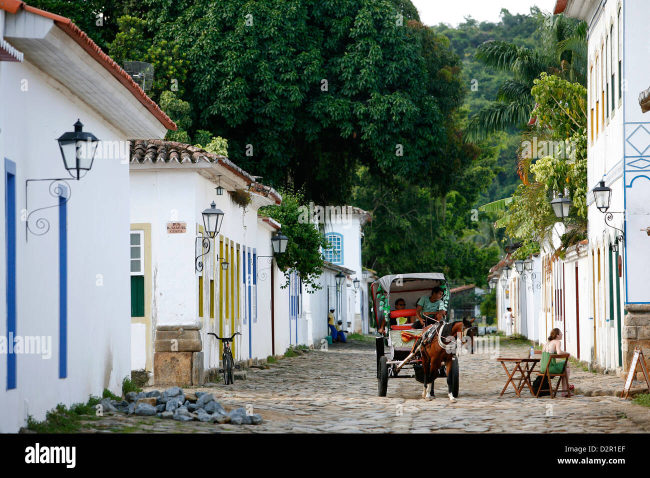 Typical colonial houses in the historic part of Parati, Rio de Janeiro State, Brazil, South America - Stock Image