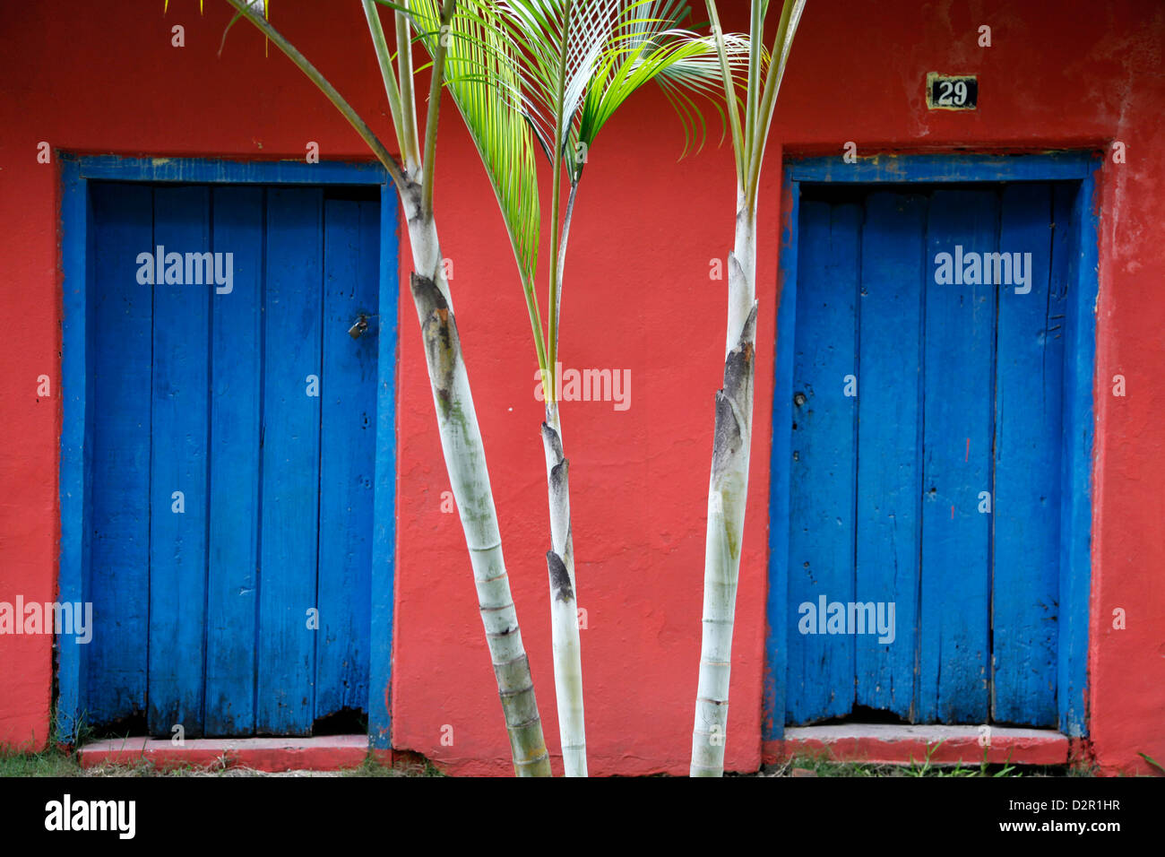 Detail of a colonial house at the historical centre (Cidade Alta) of Porto Seguro, Bahia, Brazil, South America - Stock Image
