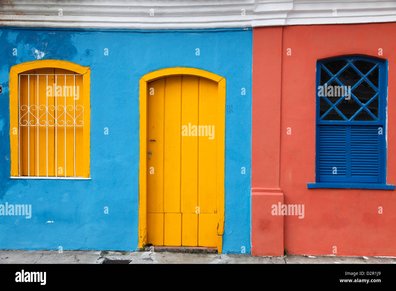Colonial building at the old colonial city centre in the lower area, Porto Seguro, Bahia, Brazil, South America - Stock Image
