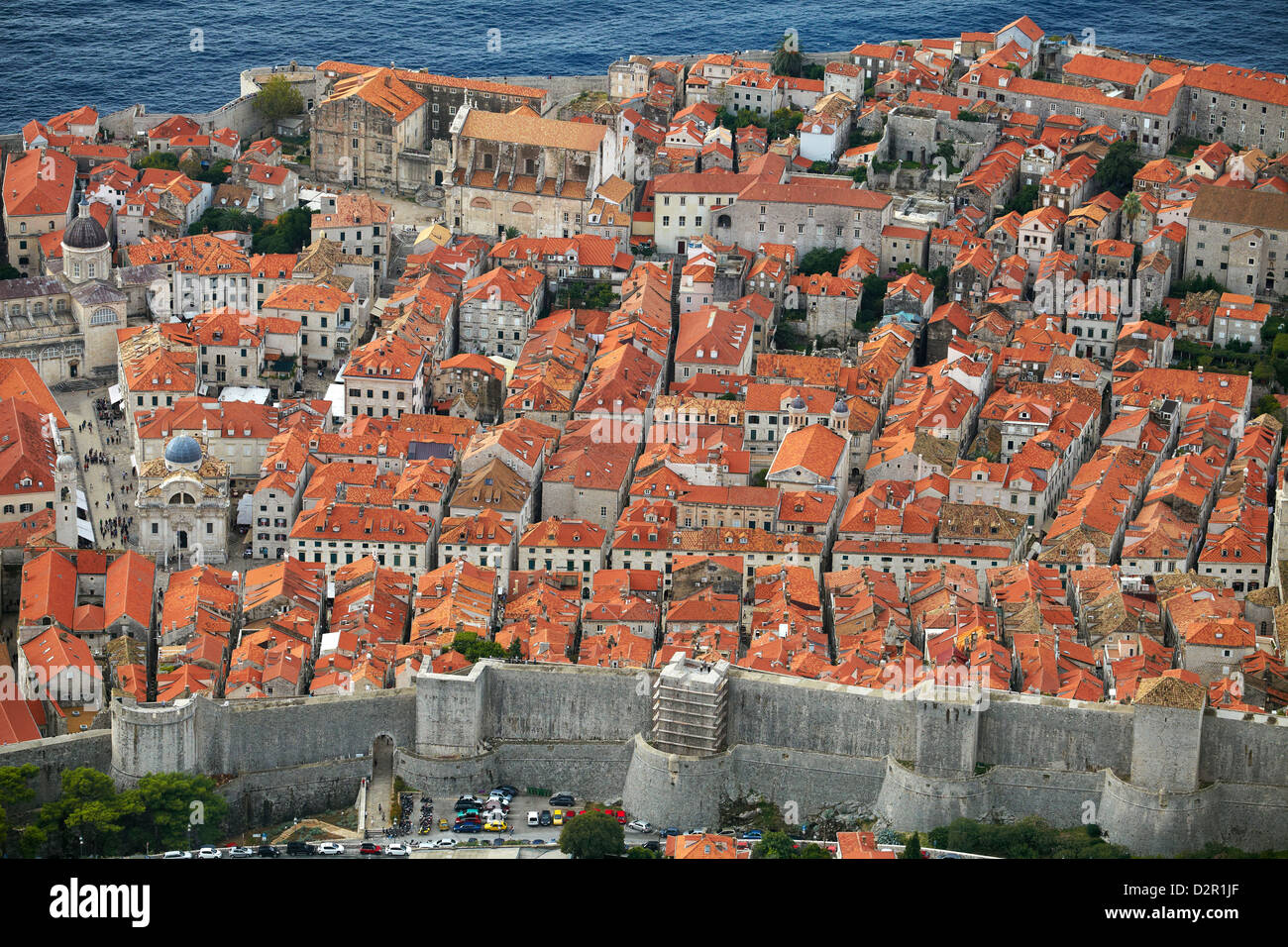 Dubrovnik, Old Town ond the city walls, Croatia - Stock Image