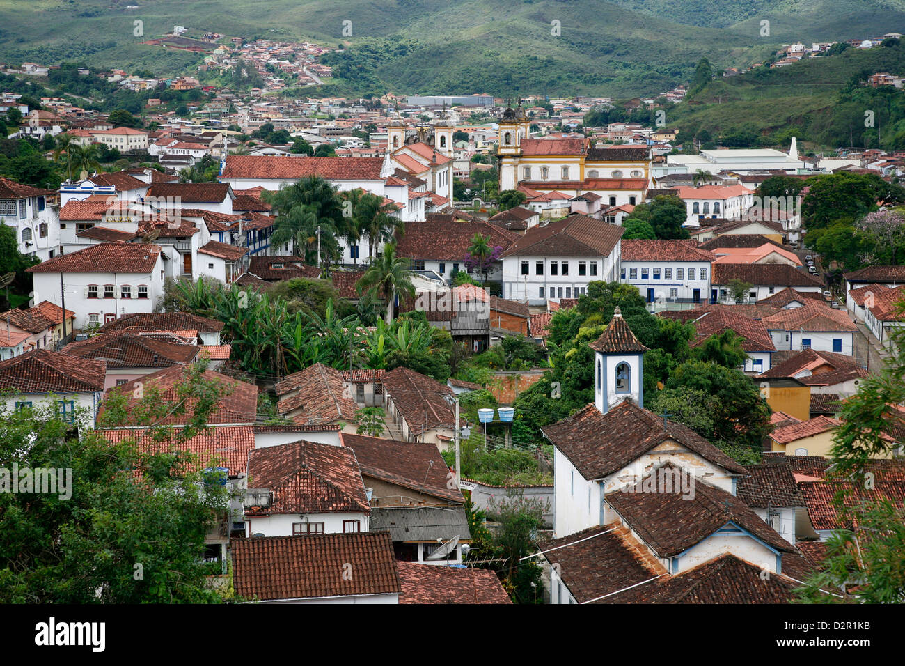 View over Mariana from the from the bell tower of Basilica de Sao Pedro dos Clerigos, Mariana, Minas Gerais, Brazil - Stock Image