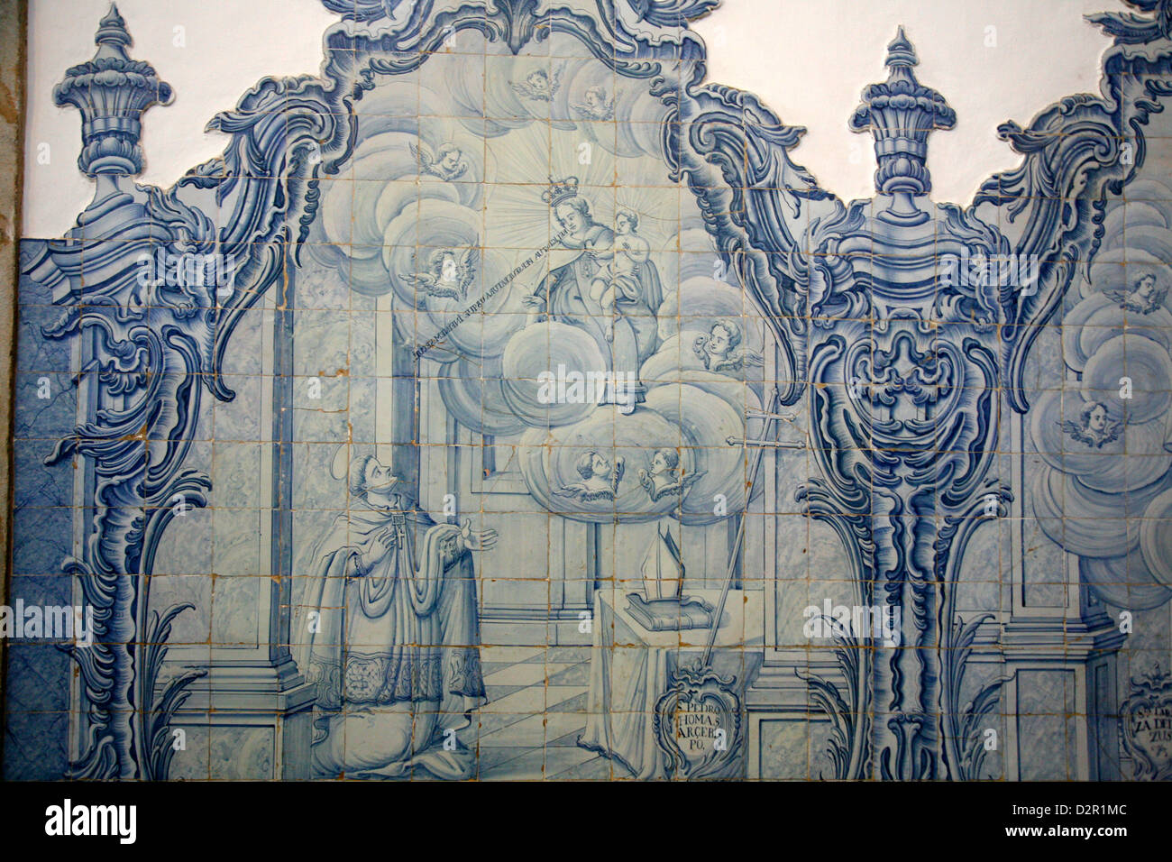 18th century Portuguese tile decoration at the Igreja de Nossa Senhora do Carmo church, Ouro Preto, Minas Gerais, - Stock Image