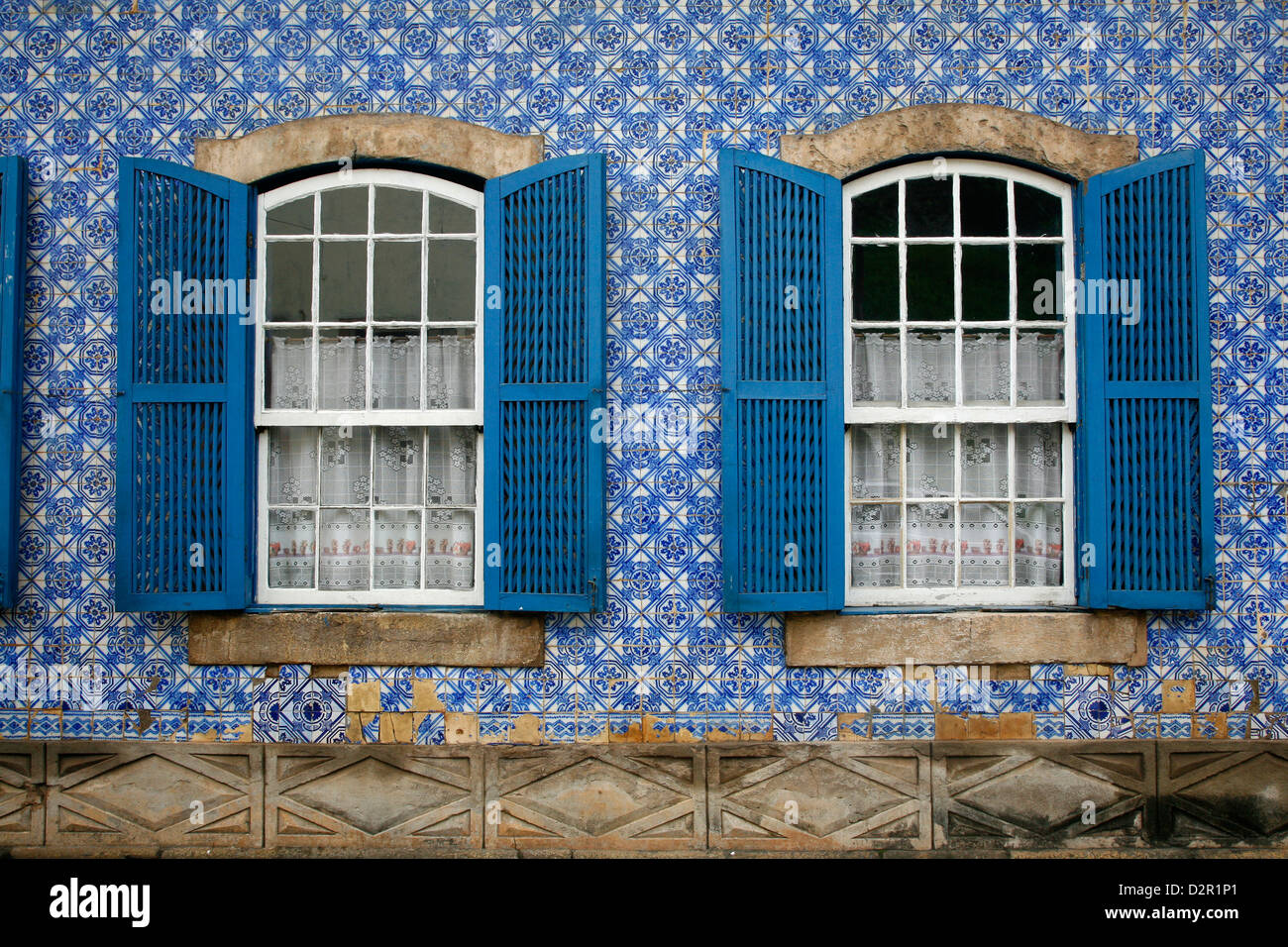 House covered with azulejos (tiles), Ouro Preto, UNESCO World Heritage Site, Minas Gerais, Brazil, South America - Stock Image