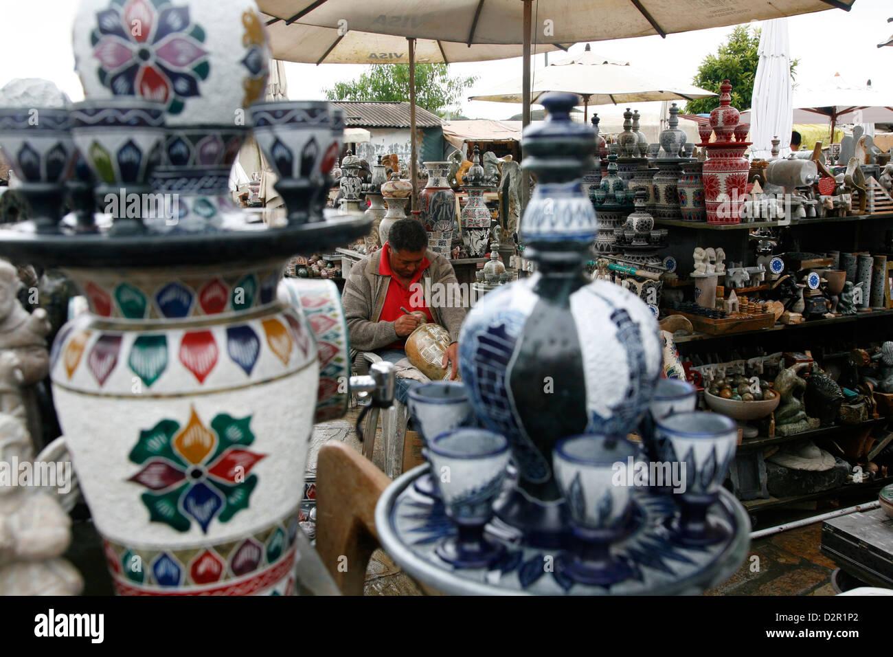 Craft market near Sao Francisco de Assis church, Ouro Preto, Minas Gerais, Brazil, South America Stock Photo