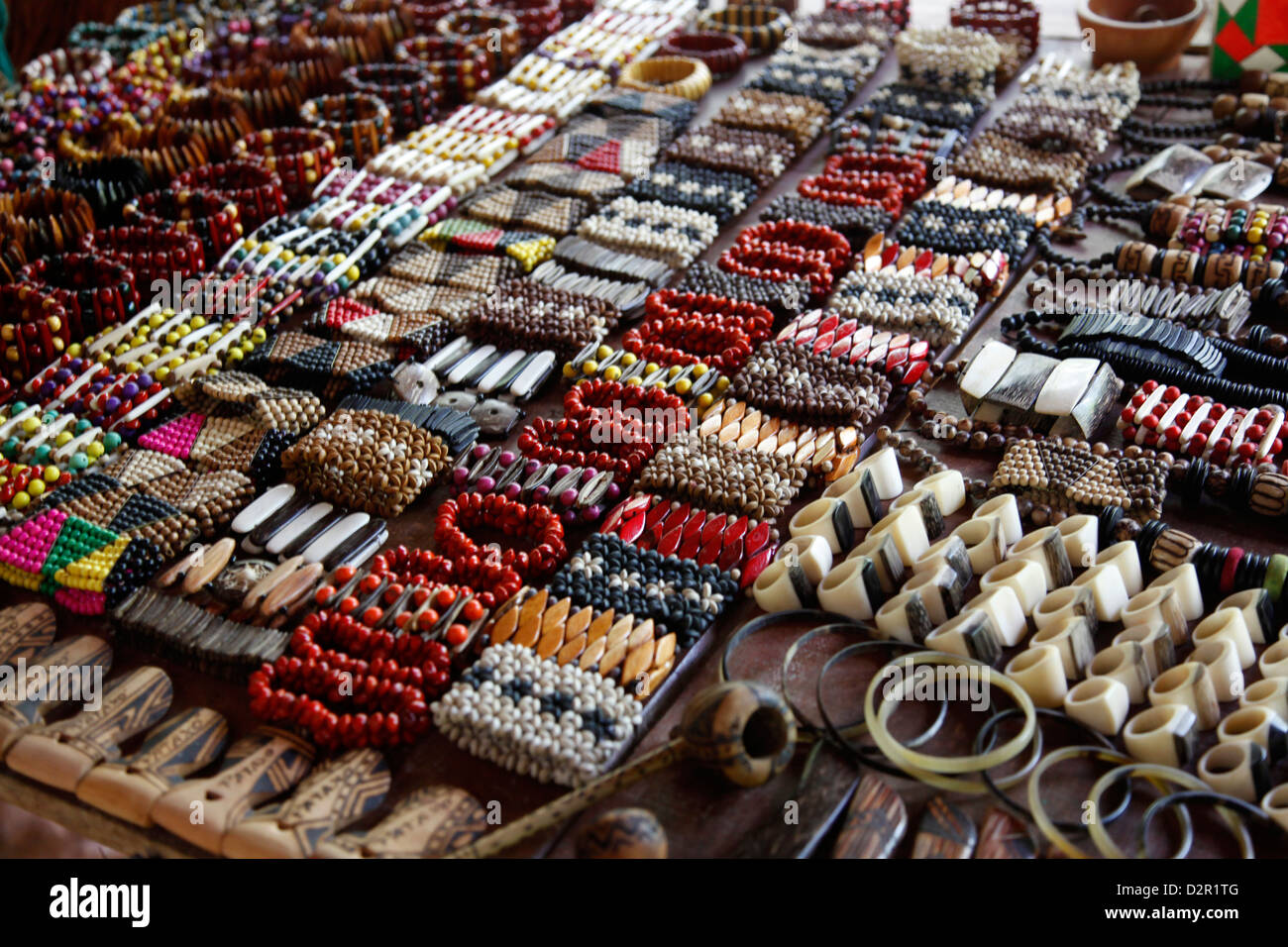 Crafts for sale at the shop of the Pataxo Indian people at the Reserva Indigena da Jaqueira near Porto Seguro, Bahia, - Stock Image
