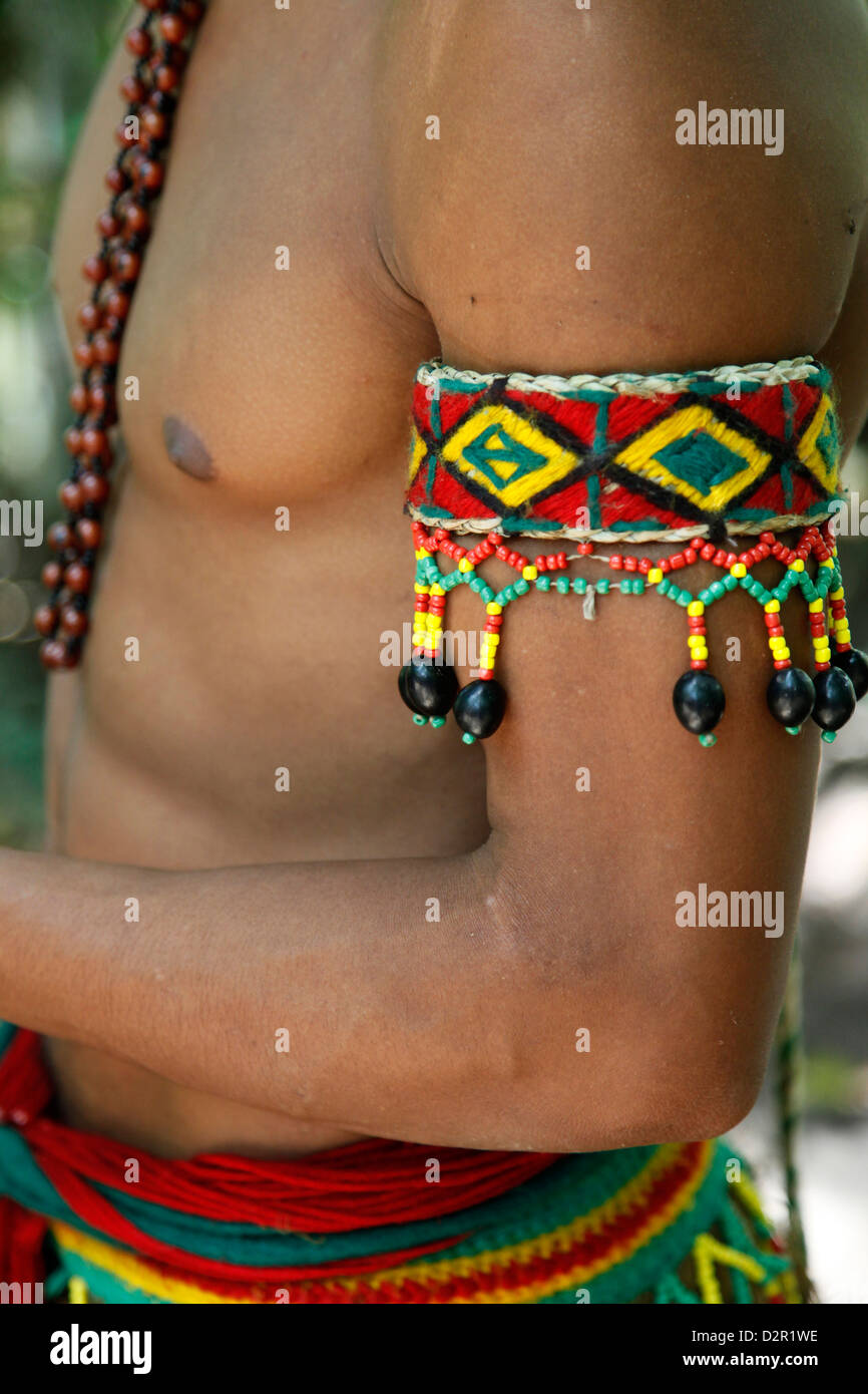 Detail of the costume of the Pataxo Indian people at the Reserva Indigena da Jaqueira near Porto Seguro, Bahia, - Stock Image