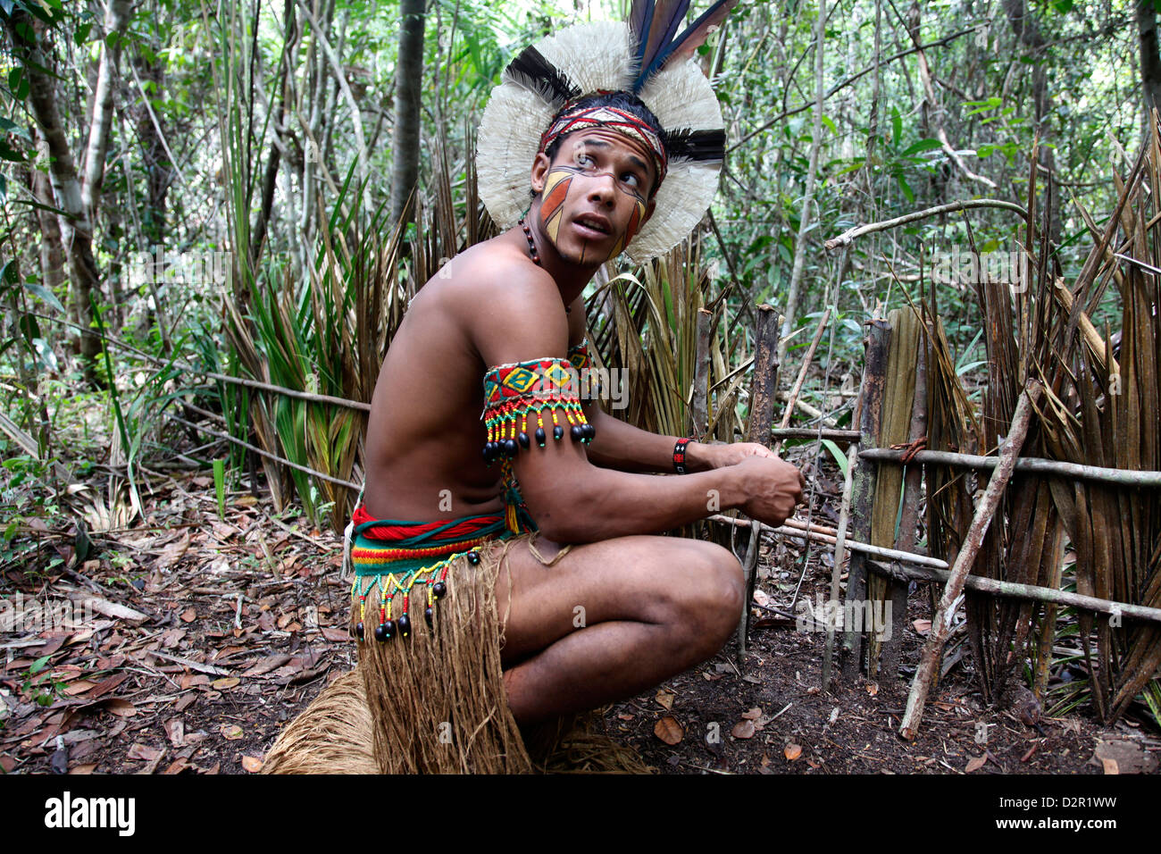Portrait of a Pataxo Indian man at the Reserva Indigena da Jaqueira near Porto Seguro, Bahia, Brazil, South America - Stock Image