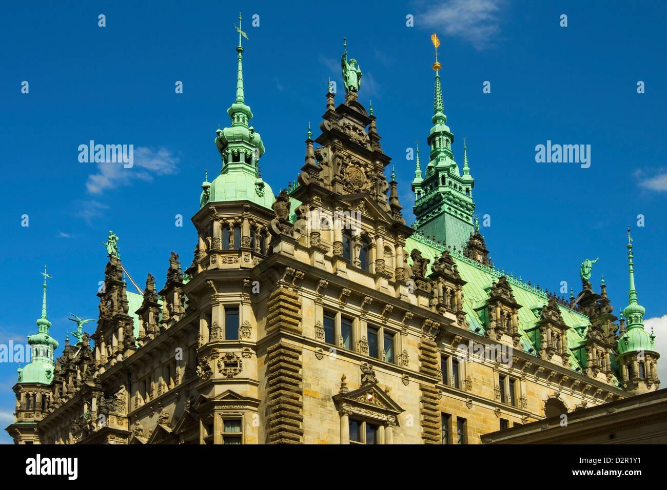 Ornate neo-renaissance architecture of the Hamburg Rathaus (City Hall), opened 1886, Hamburg, Germany, Europe - Stock Image