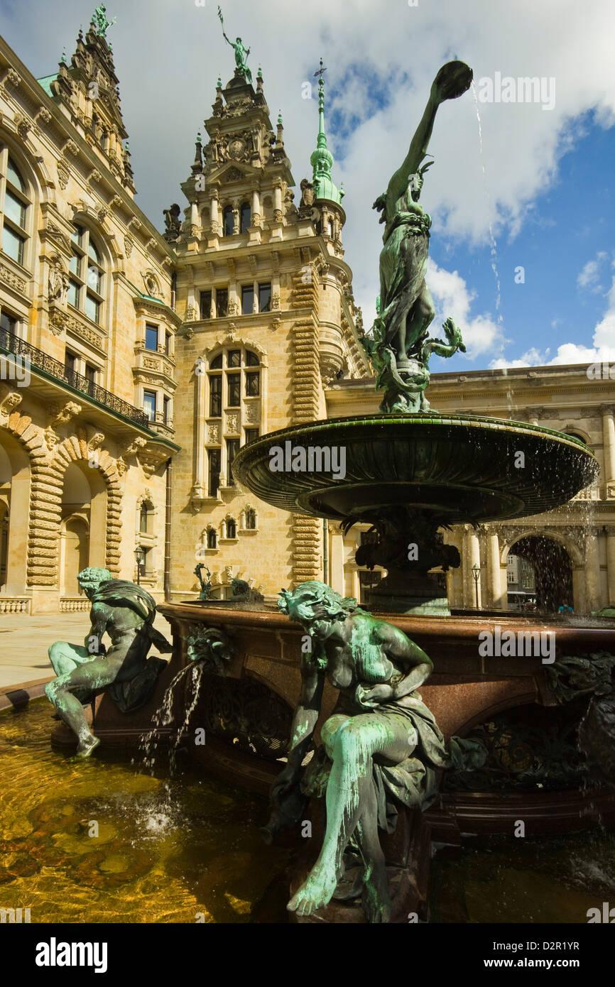 Neo-renaissance statues and fountain at the Hamburg Rathaus (City Hall), opened 1886, Hamburg, Germany, Europe - Stock Image