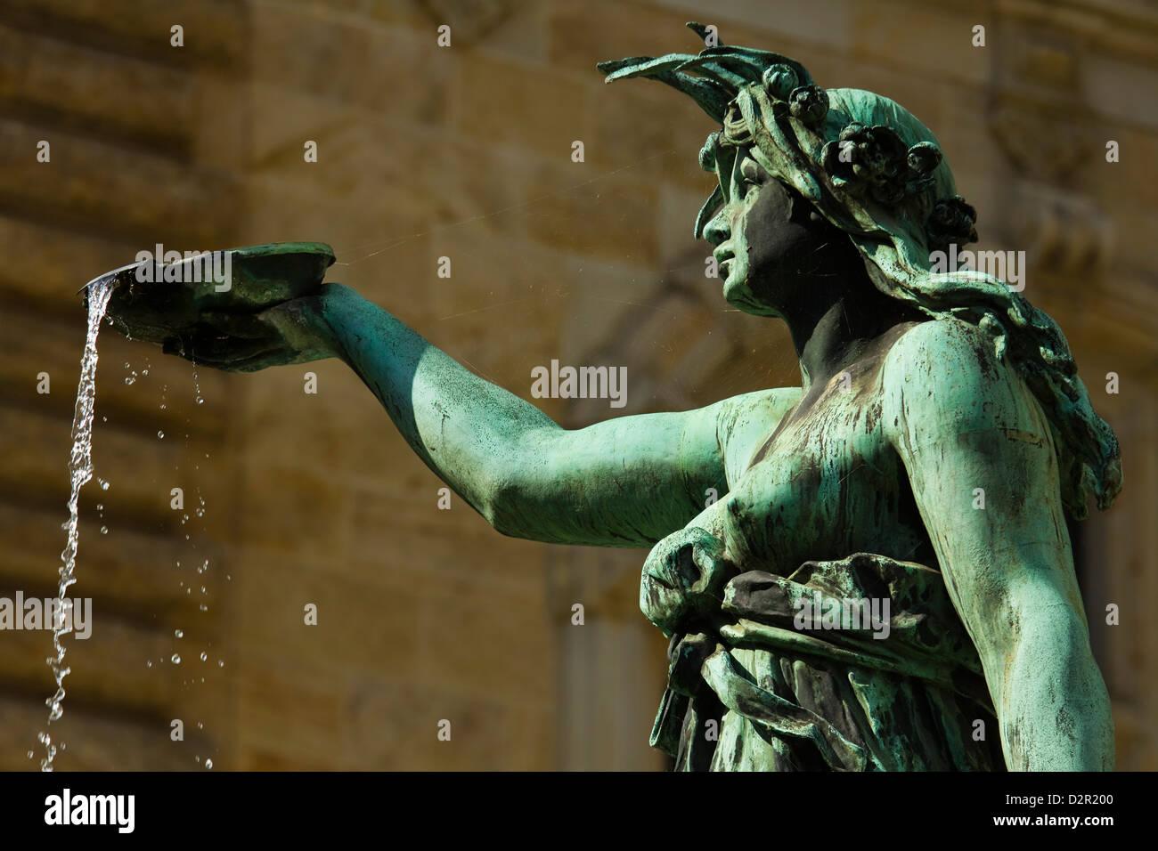 Neo-renaissance statue in a fountain at the Hamburg Rathaus (City Hall), opened 1886, Hamburg, Germany, Europe - Stock Image