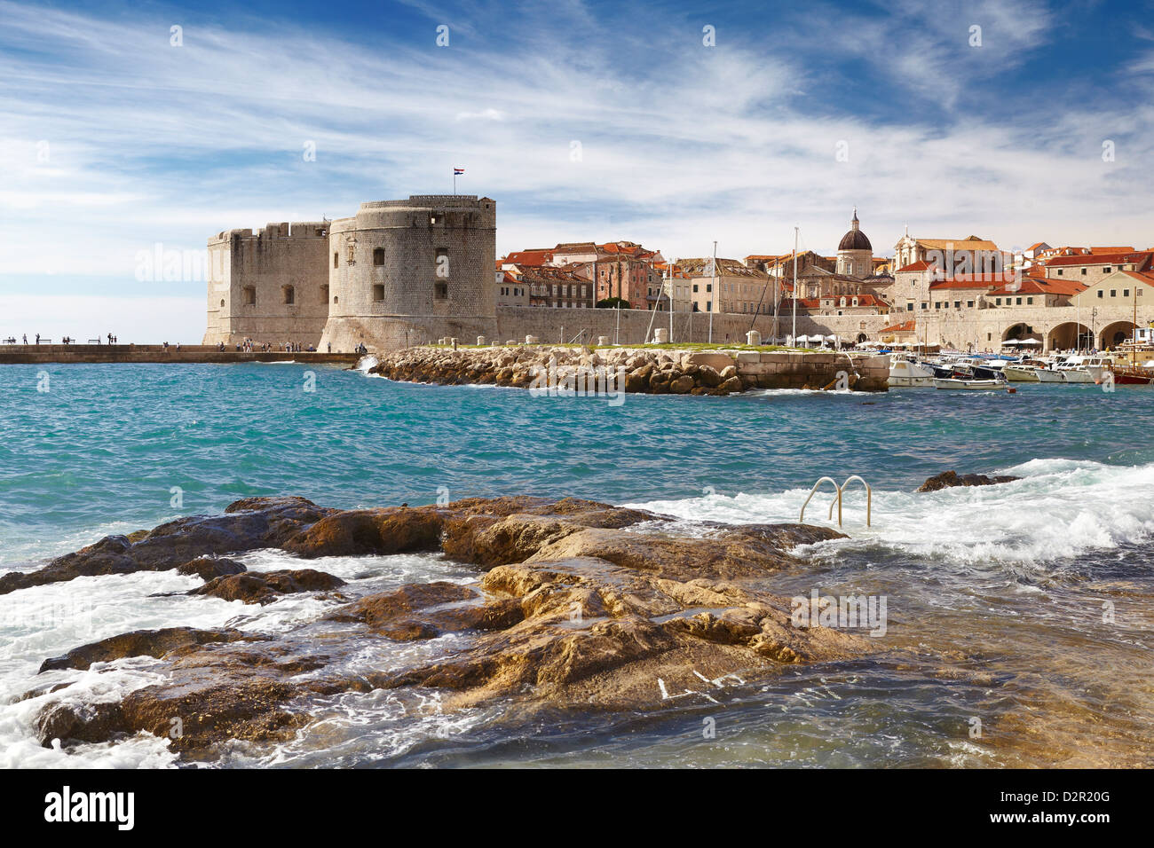 Dubrovnik Old Town City, view at Harbour, Croatia - Stock Image
