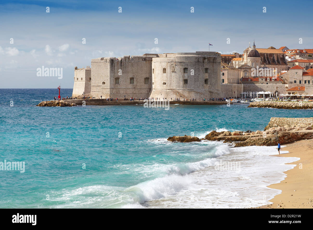 Dubrovnik Old Town and Harbour - view from city beach, Croatia - Stock Image