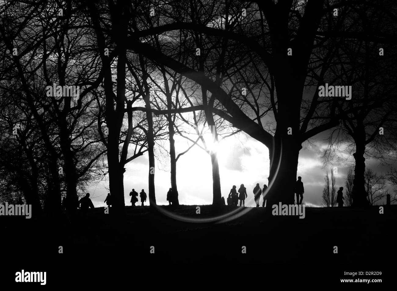 Walkers strolling through Hampstead Heath, Hampstead, London, UK - Stock Image