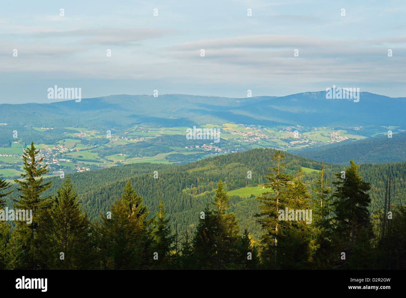 View of the Bavarian Forest, near Furth im Wald, Bavaria, Germany, Europe - Stock Image