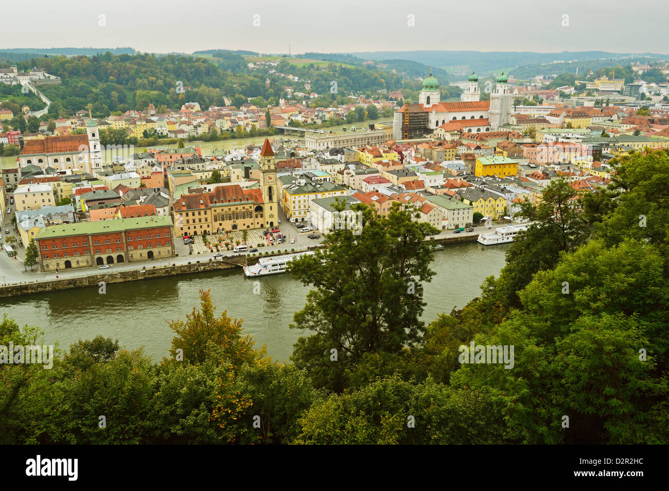 View of Passau with rivers Danube and Inn, Bavaria, Germany, Europe Stock Photo