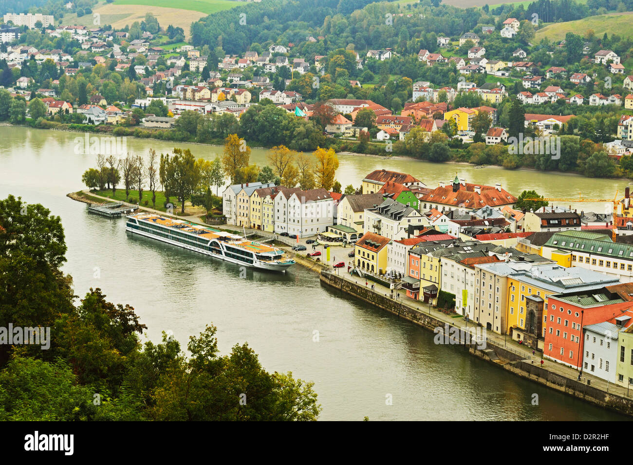 View of Passau with rivers Danube and Inn, Bavaria, Germany, Europe - Stock Image