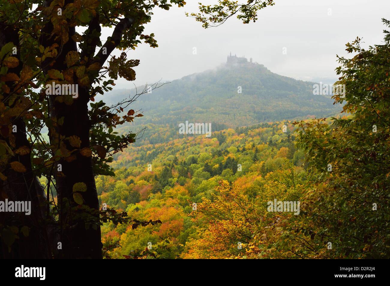Hohenzollern castle, Swabian Alb, Baden-Wurttemberg, Germany, Europe - Stock Image