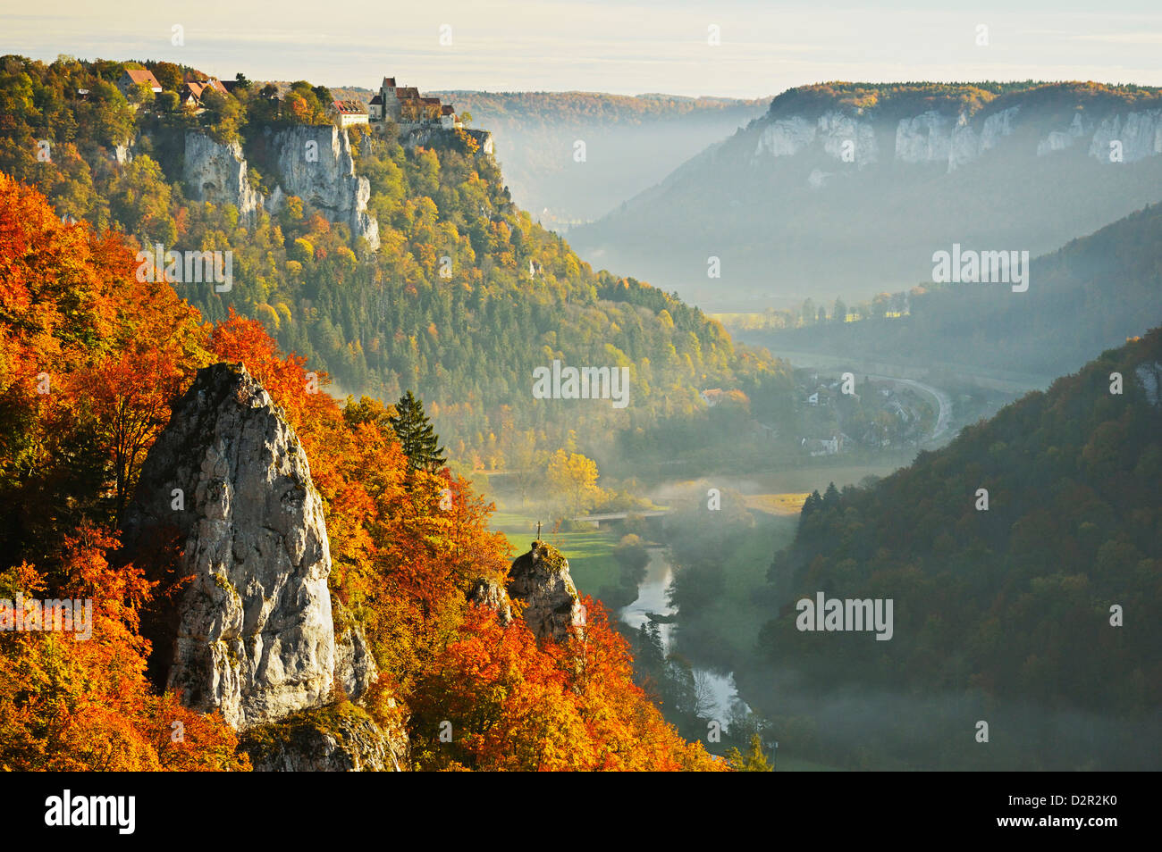 View from Eichfelsen near Irndorf of Donautal, Schaufelsen and Werenwag Castle, Swabian Alb, Baden-Wurttemberg, - Stock Image