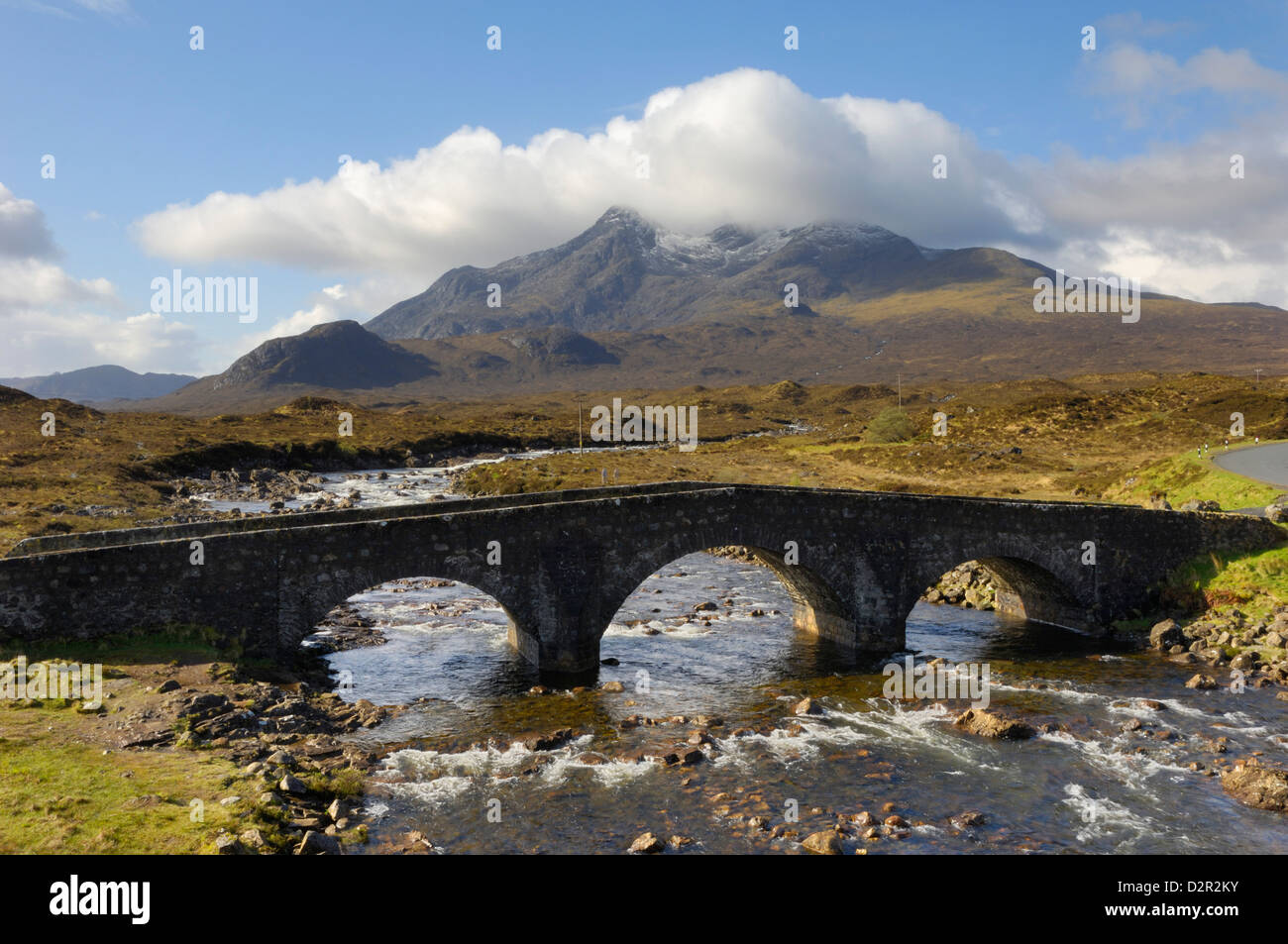 Sgurr nan Gillean from Sligachan, Isle of Skye, Inner Hebrides, Scotland, United Kingdom, Europe - Stock Image