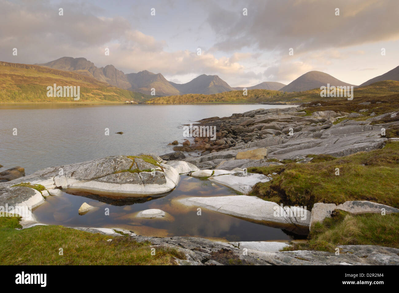 Cullin Mountains from Loch Slapin, Isle of Skye, Inner Hebrides, Scotland, United Kingdom, Europe - Stock Image